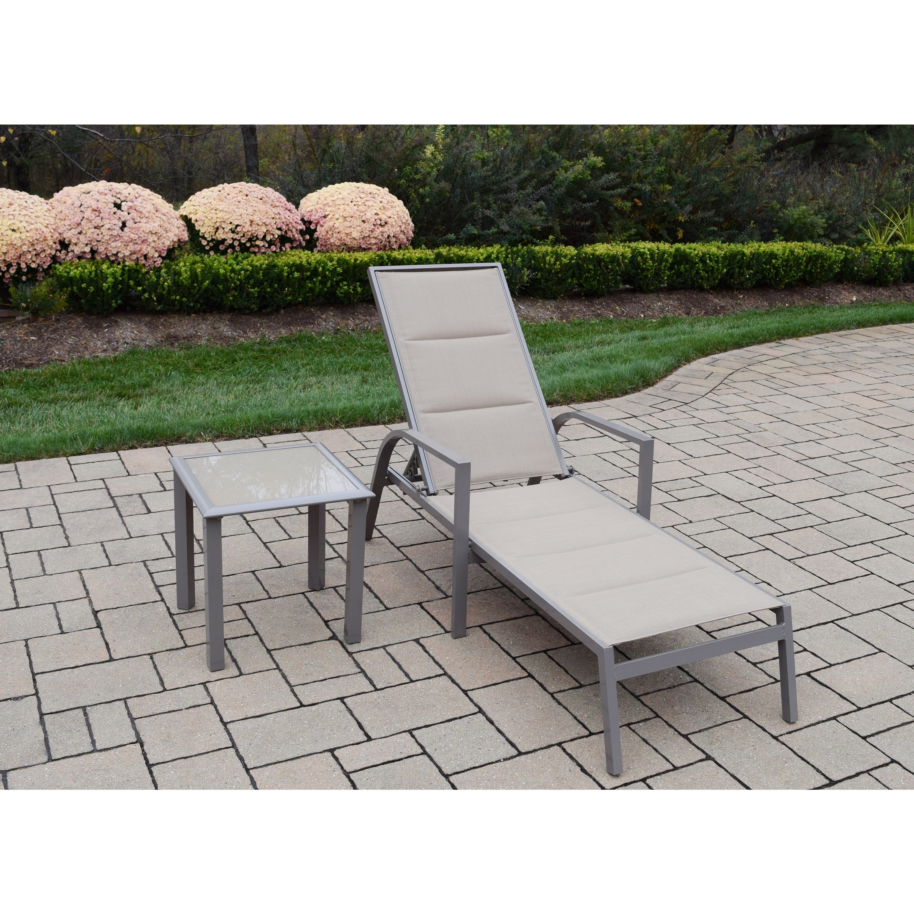 Havenside Home Newtok Mesh Reclining Patio Loungers For Preferred Sydney Padded Sling Chaise Lounge And Side Table Set (View 22 of 25)