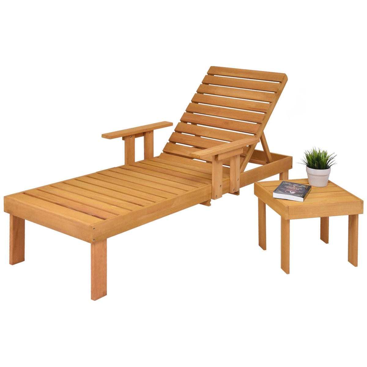 Havenside Home Ormond Outdoor Hardwood Sun Loungers With Tray With Well Known Gymax Patio Chaise Wood Sun Lounger Bench Side Tray Side Beach Table Set – As Pic (View 13 of 25)