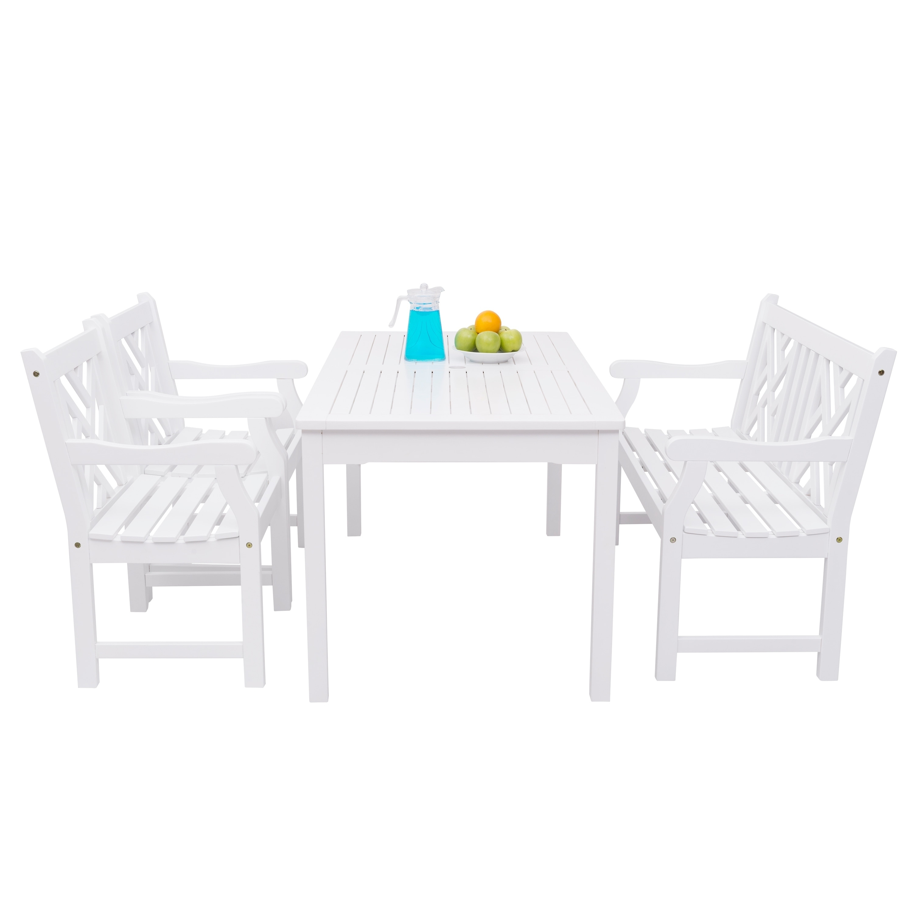 Havenside Home Surfside 4 Piece Wood Patio Dining Set With 4 Foot Bench In Fashionable Havenside Home Surfside Outdoor Lounge Chairs (View 11 of 25)