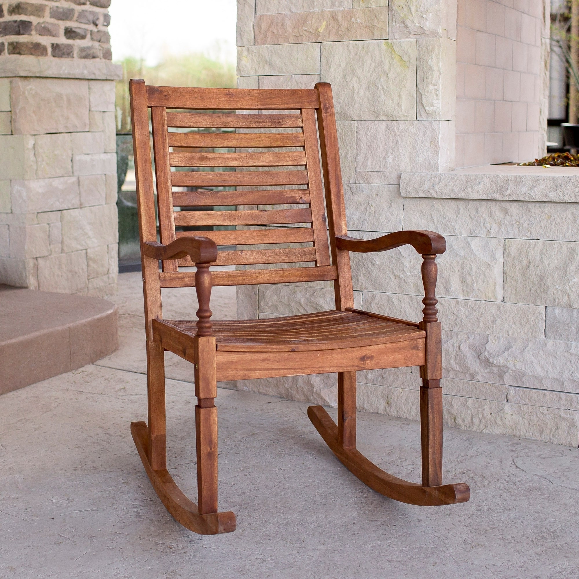 Havenside Home Surfside Acacia Outdoor Rocking Chair – Brown Within Current Havenside Home Surfside Outdoor Lounge Chairs (View 17 of 25)