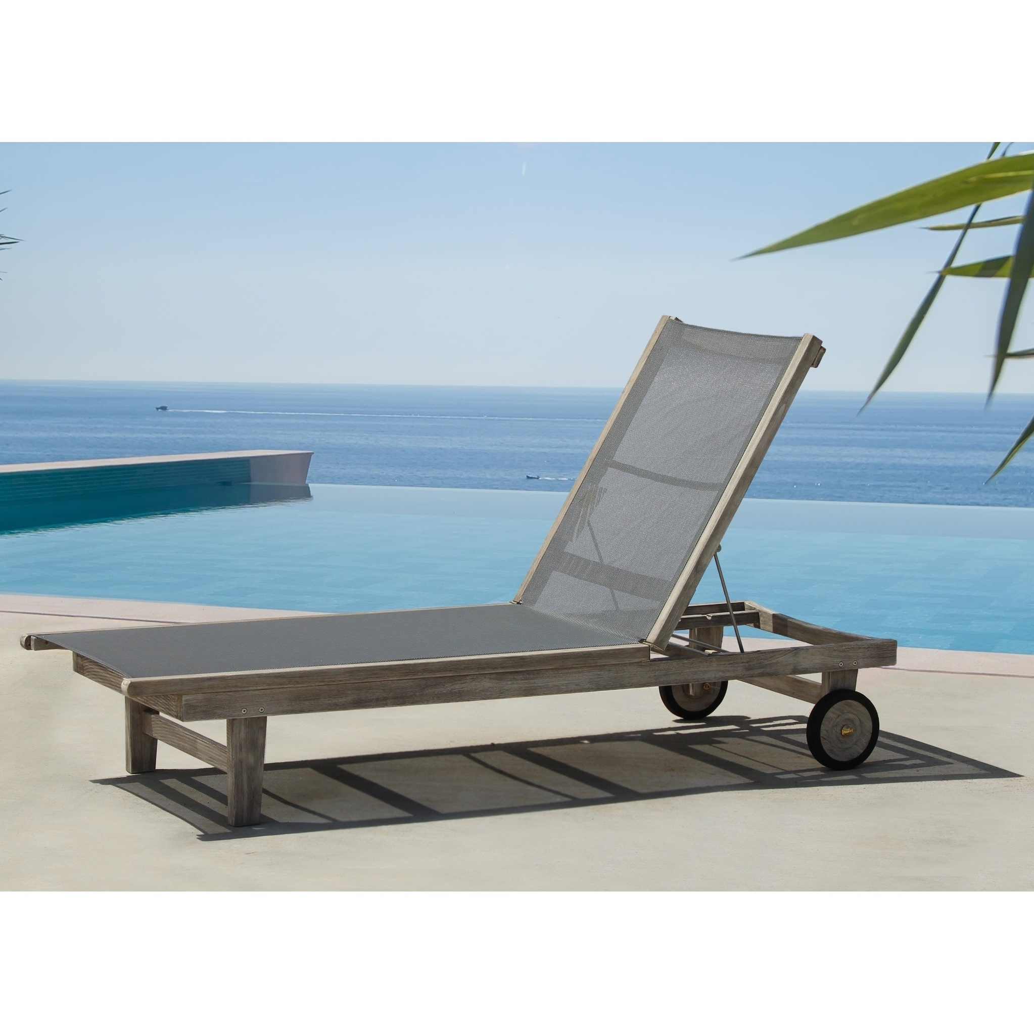 Havenside Home Surfside Driftwood Grey Teak Deck Lounge Chair With Regard To 2020 Hiteak Pearl Chaise Lounges In Black Mesh Fabric (View 9 of 25)