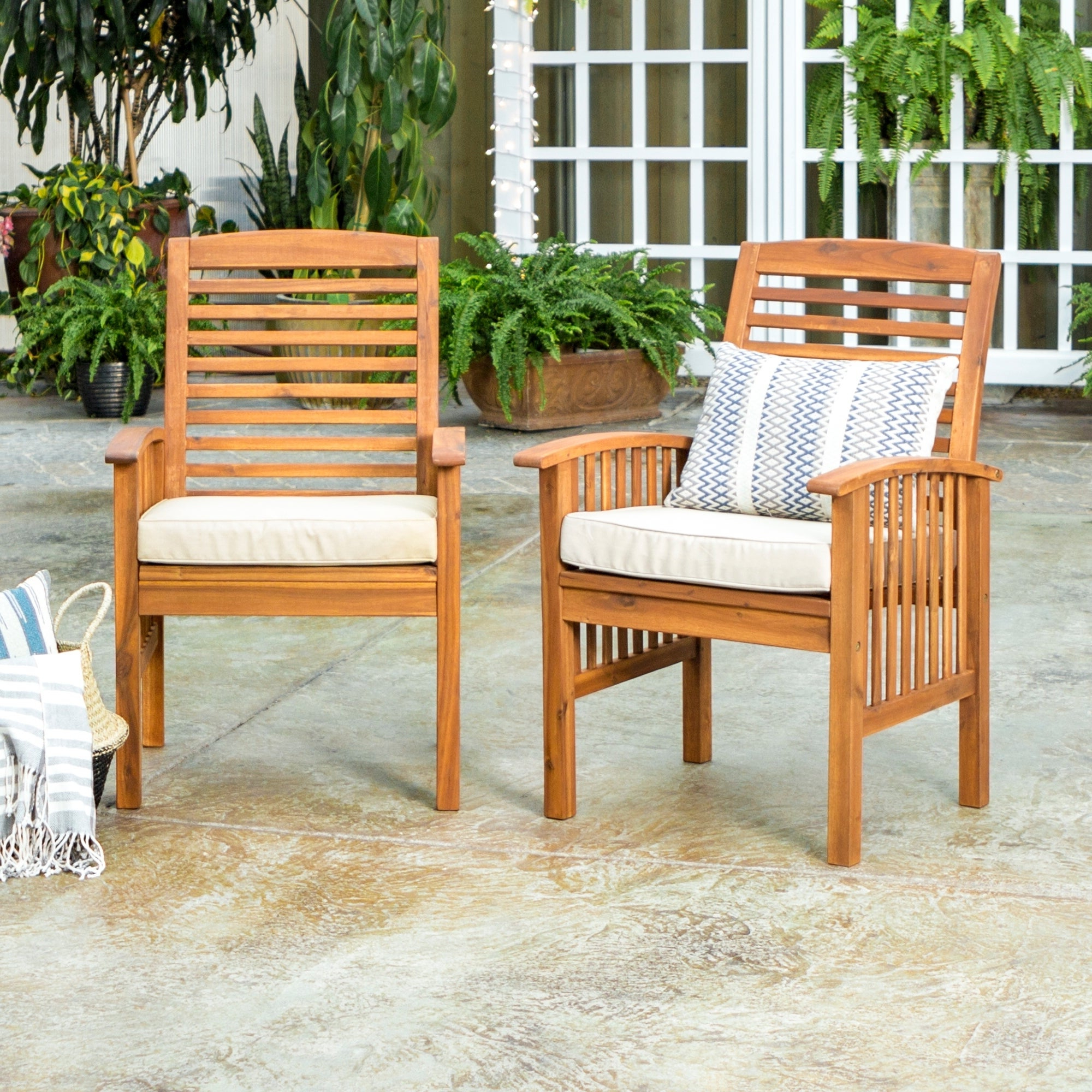 Havenside Home Surfside Outdoor Lounge Chairs For Latest Havenside Home Surfside Acacia Wood Patio Chairs (Set Of 2) – 24 X 20 X 37H (View 2 of 25)