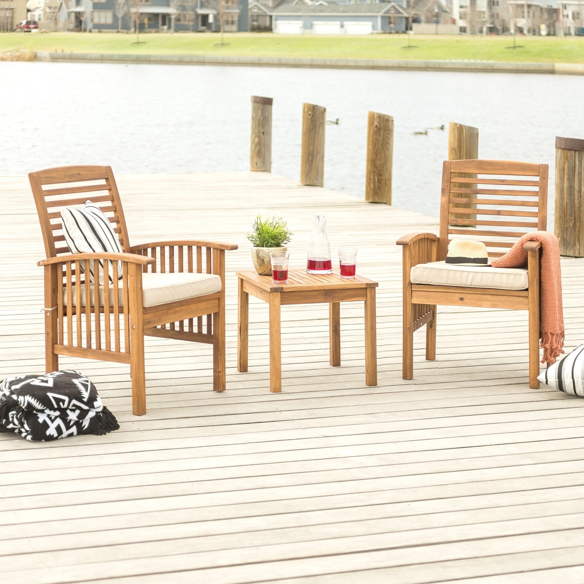 Havenside Home Surfside Outdoor Lounge Chairs For Most Up To Date Havenside Home Surfside 3 Piece Acacia Outdoor Chairs And Side Table Set (View 13 of 25)