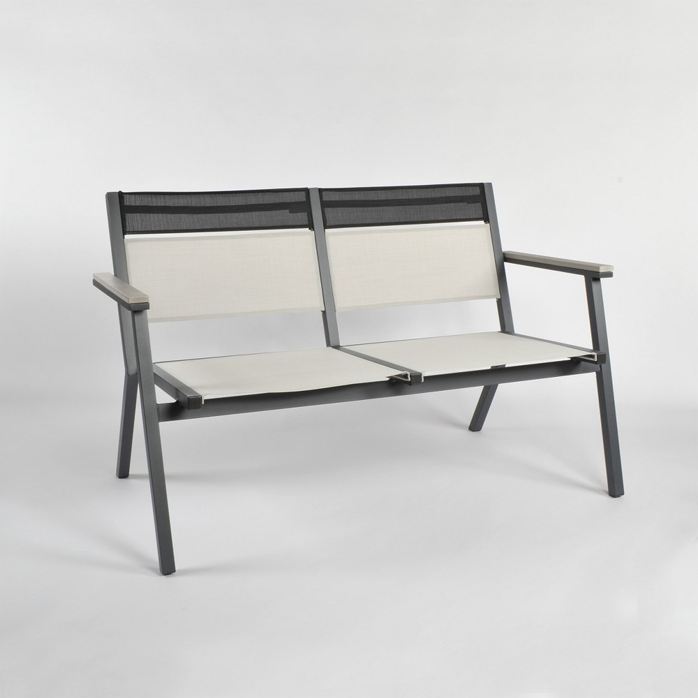 Havenside Home Tottenville Eucalyptus Loungers Pertaining To Trendy Split Sling Patio Stack Bench Gray/linen – Project (View 20 of 25)
