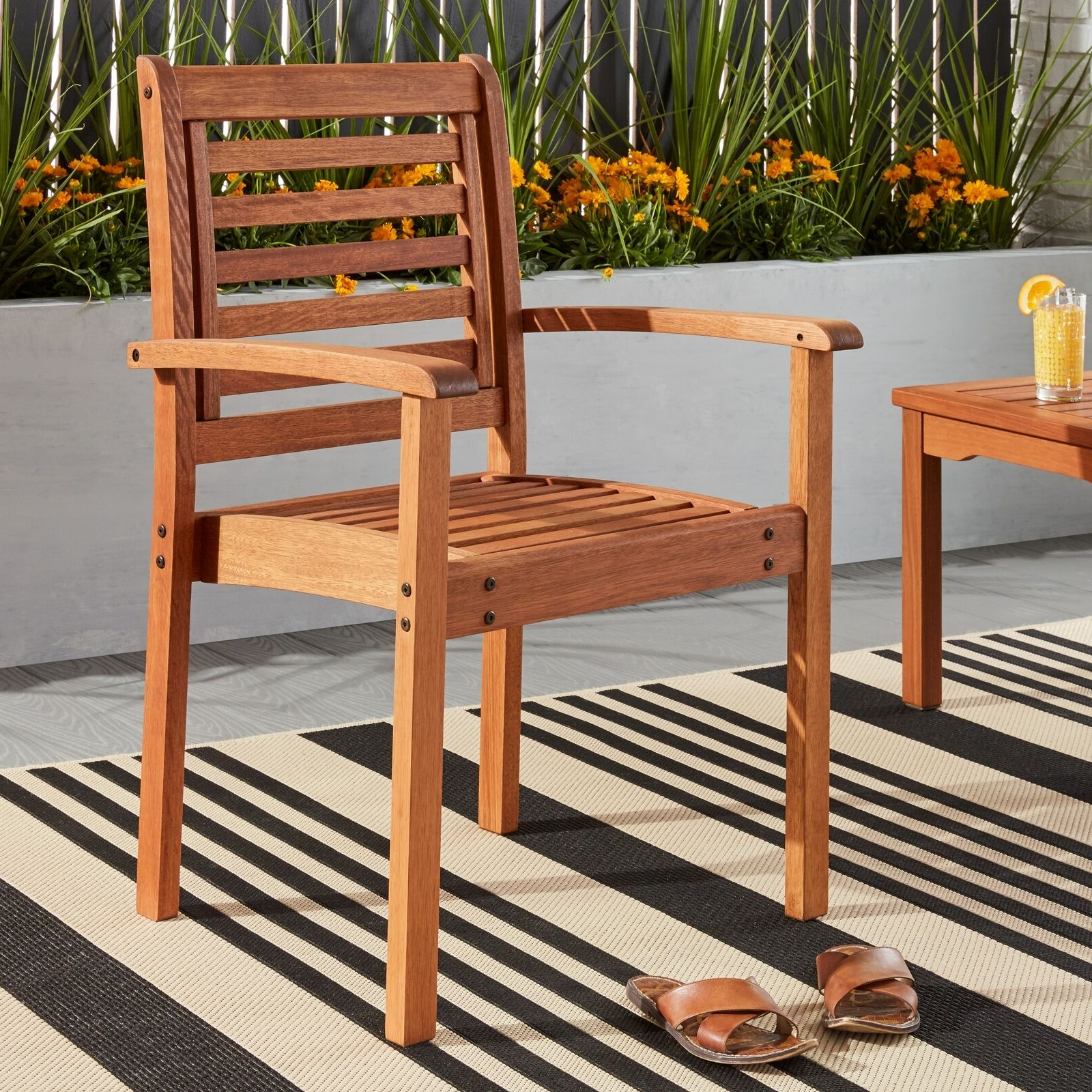 Havenside Home Tottenville Eucalyptus Wood Stackable Chair – Brown N/a Pertaining To Current Havenside Home Tottenville Eucalyptus Loungers (View 4 of 25)