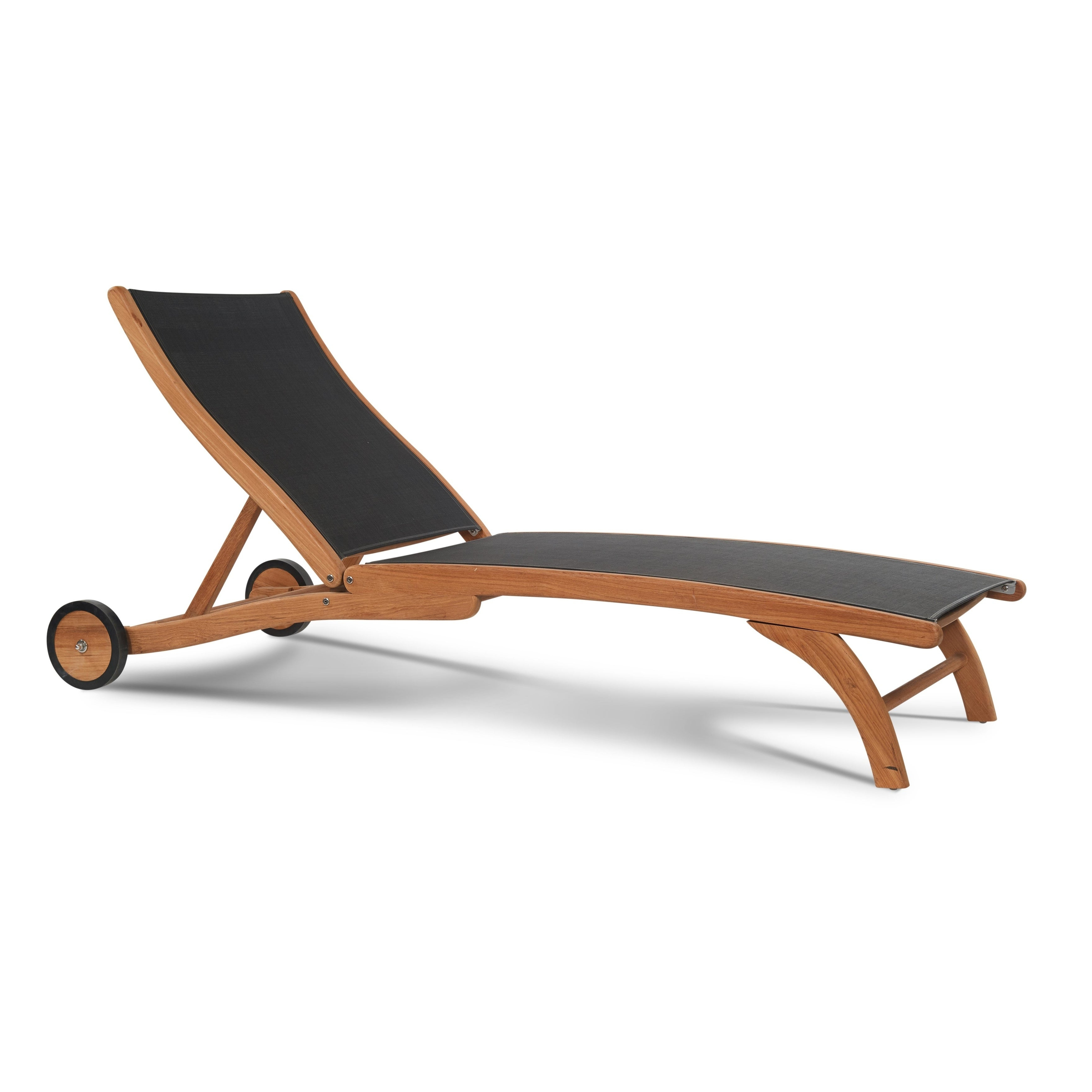 Featured Photo of Hiteak Pearl Chaise Lounges In Black Mesh Fabric