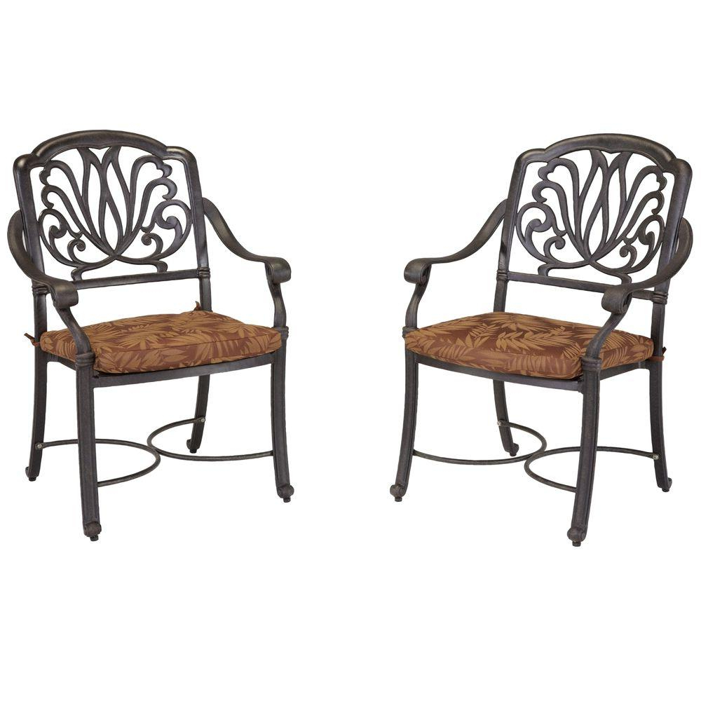 Home Styles Floral Blossom Patio Arm Chairs With Burnt Sierra Leaf Cushions  (Set Of 2) With Famous Floral Blossom Chaise Lounge Chairs With Cushion (View 20 of 25)