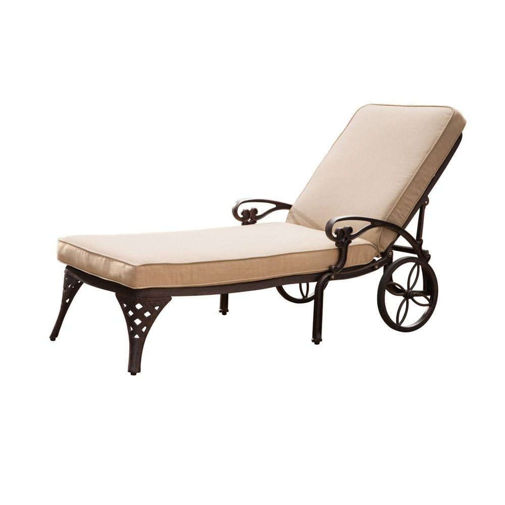 Homestyles Biscayne Black Patio Chaise Lounge With Taupe Cushion Intended For Fashionable Aluminum Wheeled Chaise Lounges (View 22 of 25)