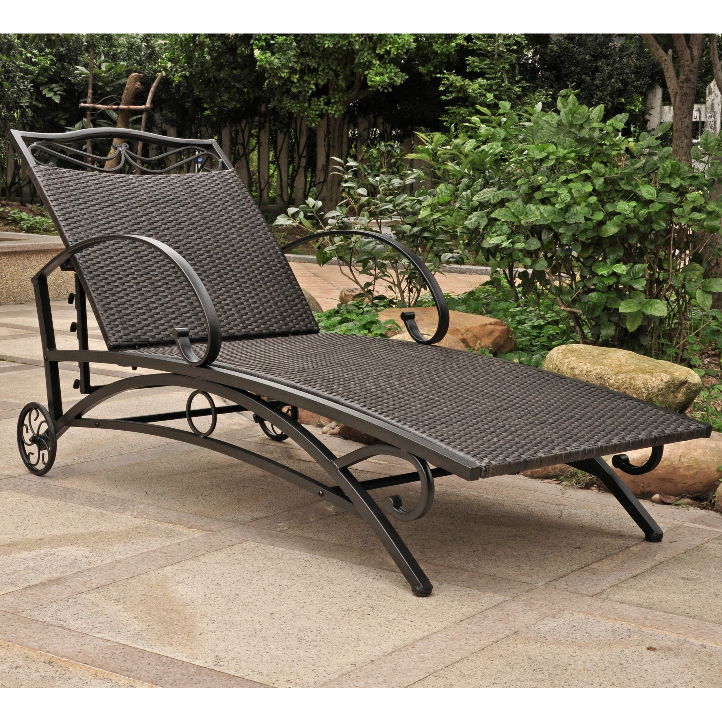 International Caravan Valencia Resin Wicker/ Steel Multi Position Chaise  Lounge With Regard To 2019 Outdoor Multi Position Chaise Lounges (View 6 of 25)