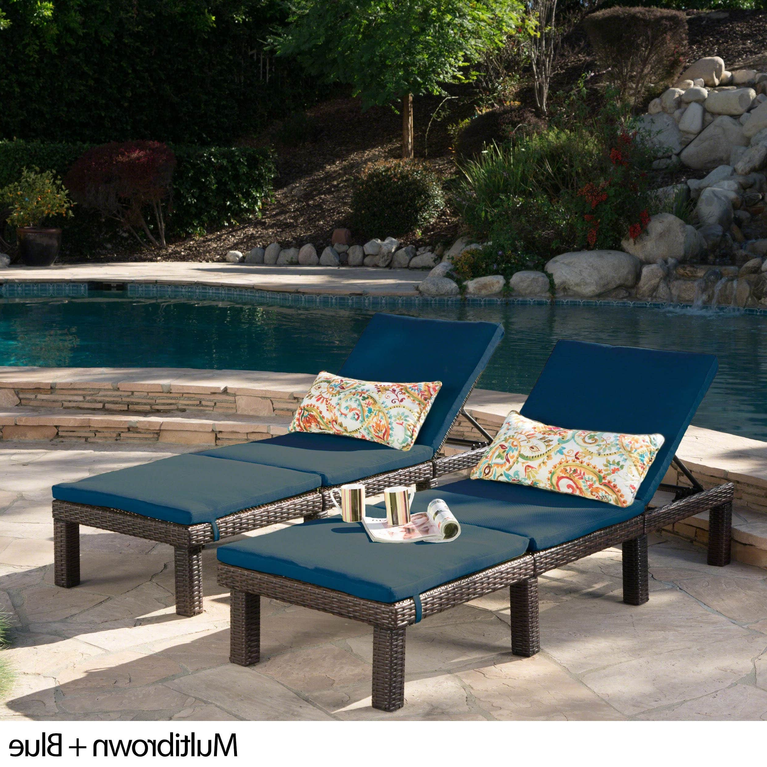 Jamaica Outdoor Chaise Lounges Regarding 2019 Jamaica Outdoor Chaise Lounge With Cushion (Set Of 2) (Gallery 8 of 25)