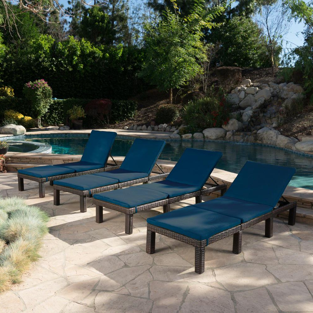 Jamaica Outdoor Chaise Lounges With Most Recently Released Noble House Jamaica Multi Brown Wicker Outdoor Chaise Lounge With Blue Cushions (4 Piece) (View 15 of 25)