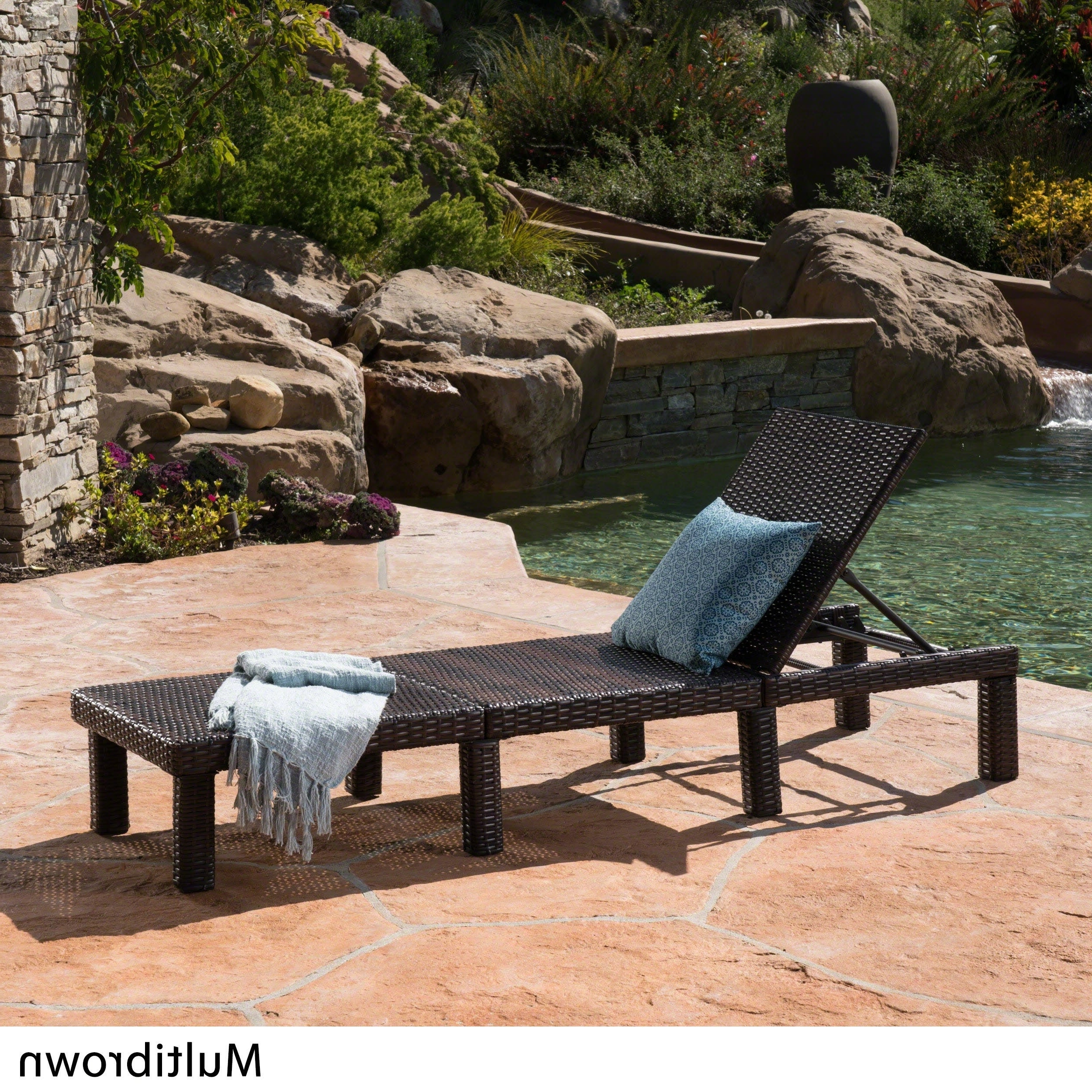 Jamaica Outdoor Wicker Chaise Lounges With Cushion Throughout Most Current Details About Jamaica Outdoor Wicker Chaise Loungechristopher Knight  Brown (Gallery 13 of 25)