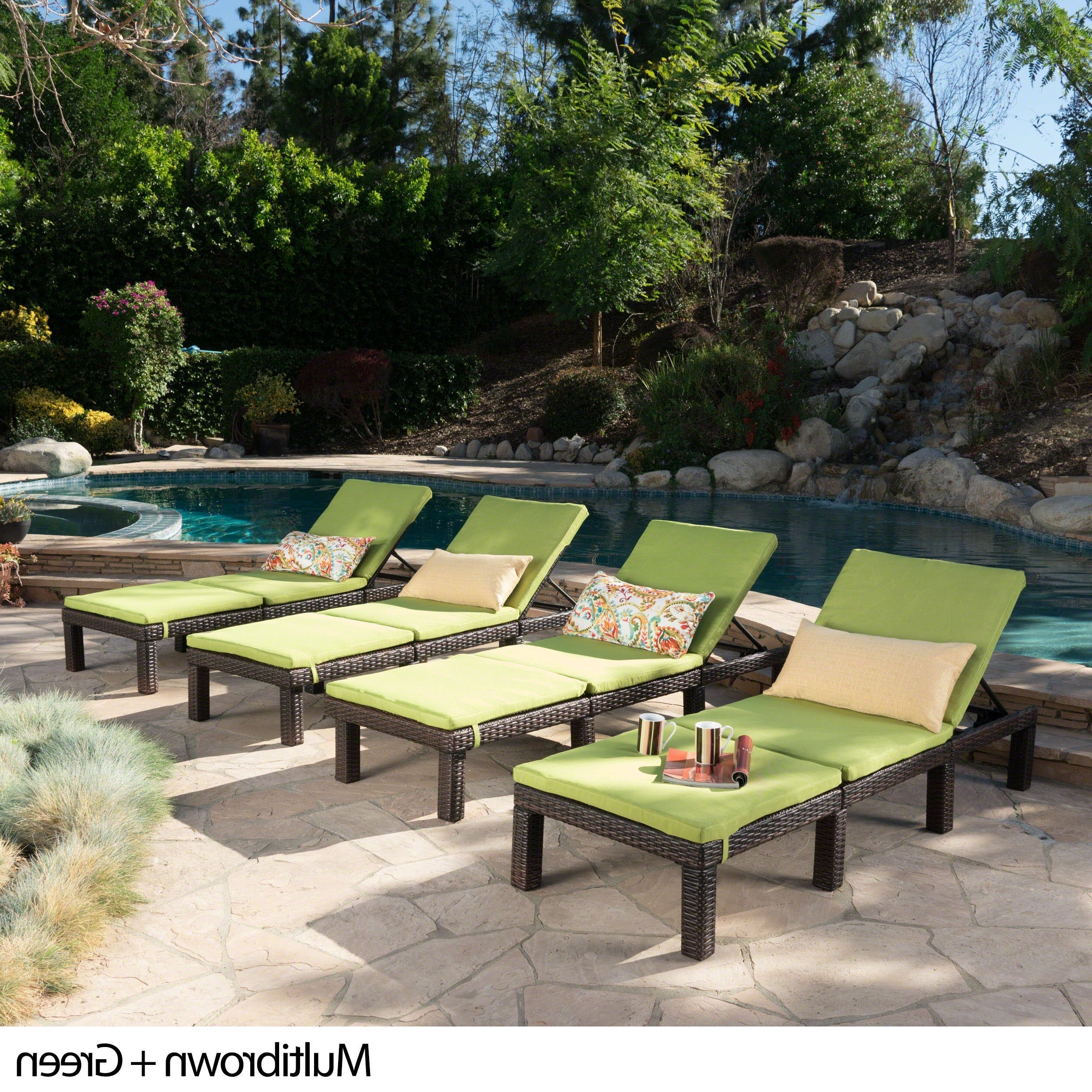 Jamaica Outdoor Wicker Chaise Lounges With Cushion Throughout Recent Jamaica Outdoor Wicker Chaise Lounge With Cushion (set Of 4)christopher Knight Home (View 2 of 25)