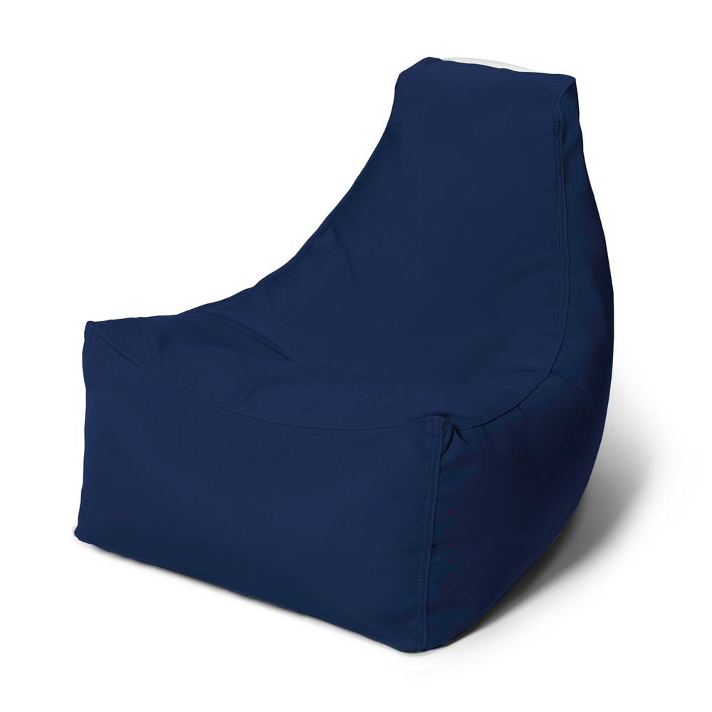 Jaxx Juniper Jr Navy Outdoor Kids Bean Bag Lawn Chair Pertaining To Fashionable Indoor/outdoor Patio Bean Bag Chairs (View 5 of 25)