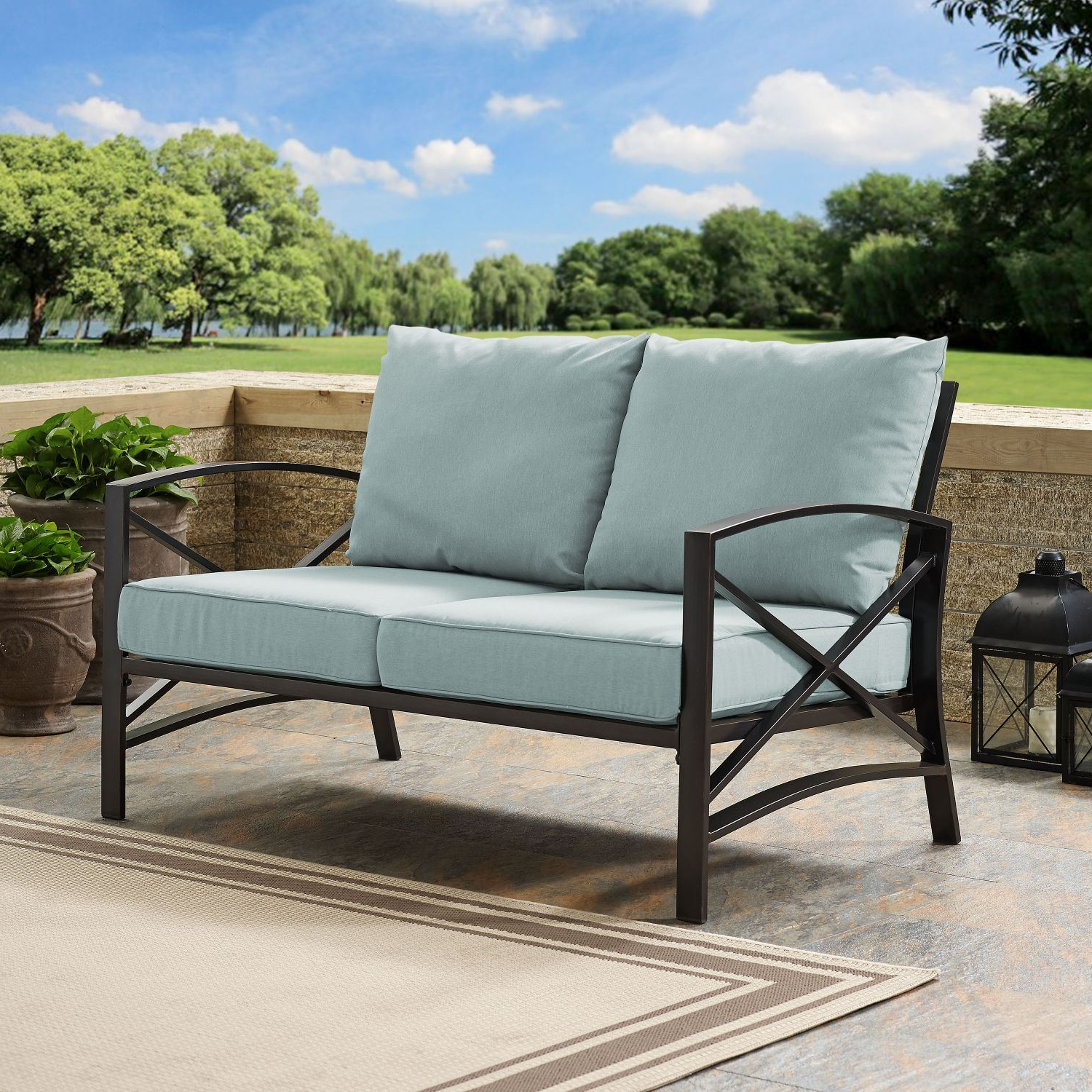 Kaplan Loveseat In Oiled Bronze With Mist Universa Regarding Well Known Chaise Lounge Chairs In Bronze With Oatmeal Cushions (View 11 of 25)