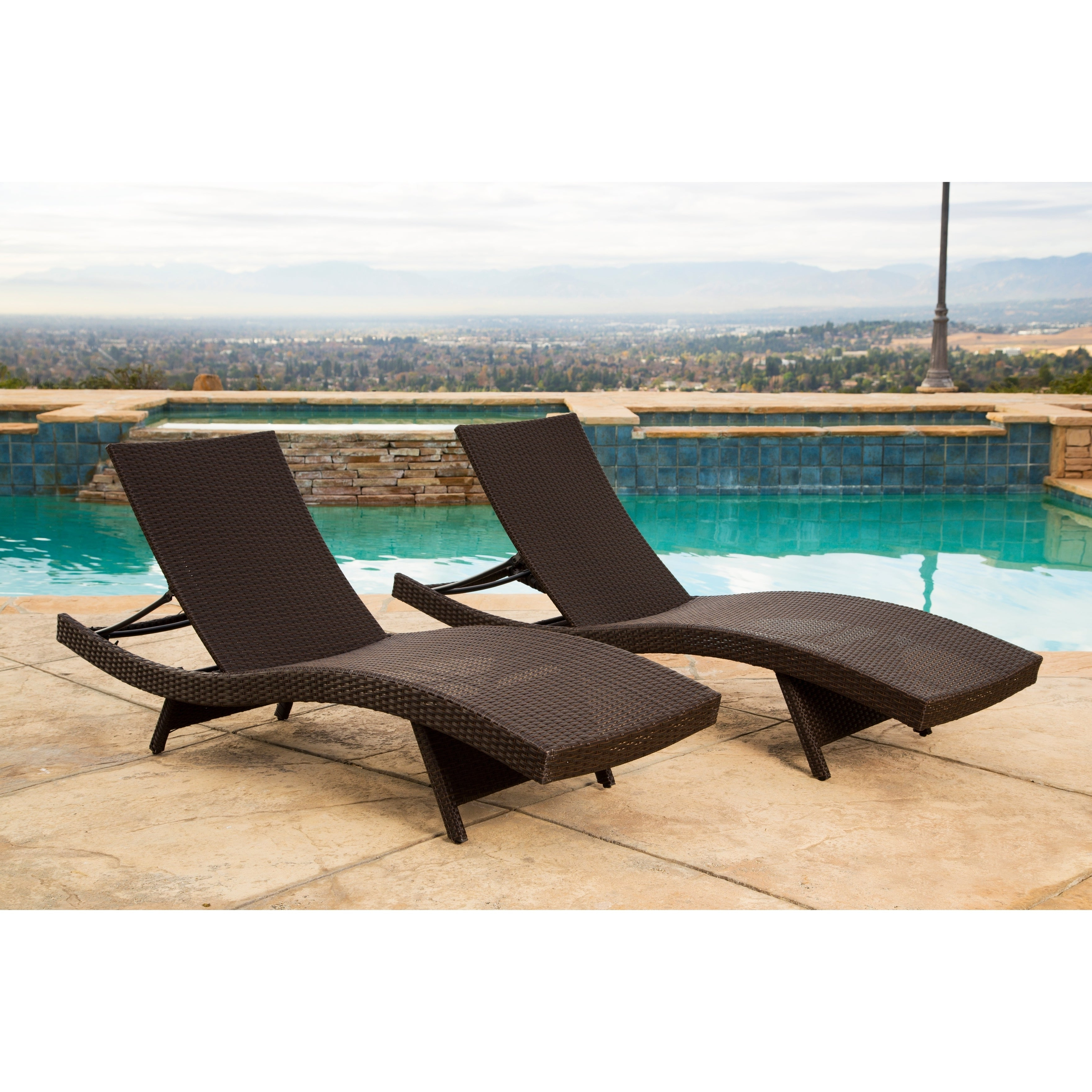 Kauai Outdoor Wicker Chaise Lounges For Well Known Abbyson Palermo Outdoor Dark Brown Wicker Chaise Lounge (Set Of 2) (View 6 of 25)