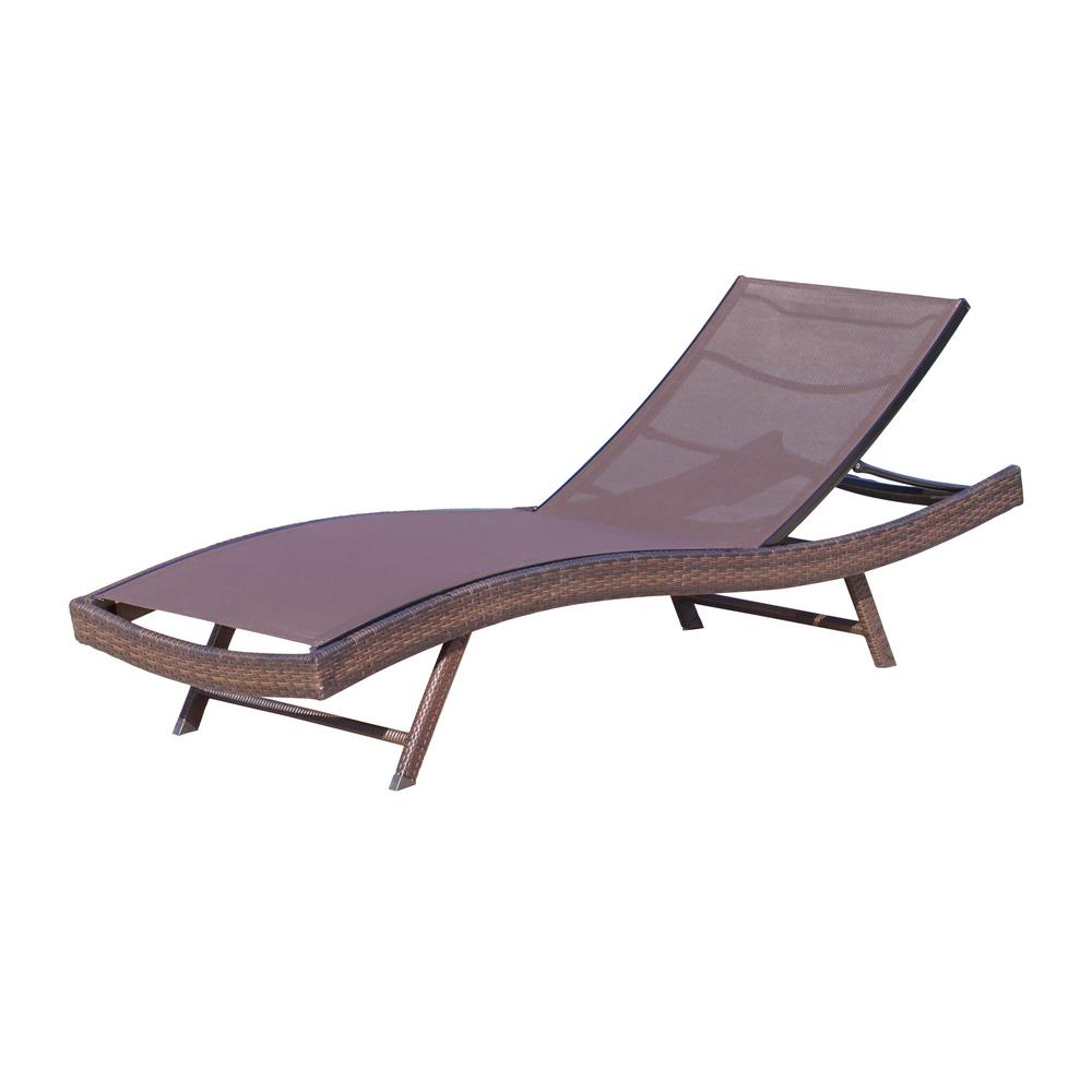 Kauai Outdoor Wicker Chaise Lounges Pertaining To Fashionable Noble House Kauai Brown 1 Piece Metal Outdoor Chaise Lounge (Gallery 11 of 25)