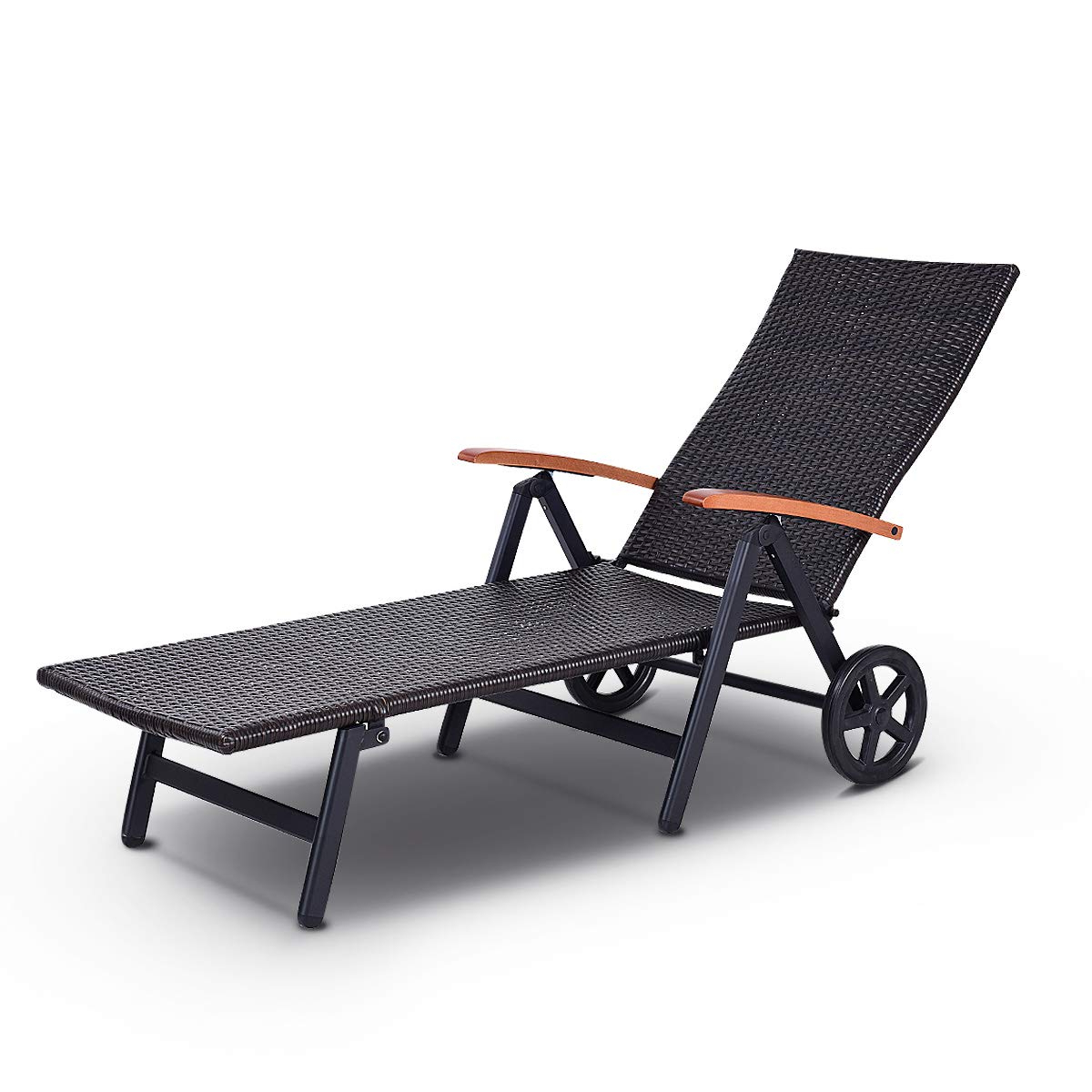 Kauai Outdoor Wicker Chaise Lounges Regarding Newest Einnehmend Tangkula Wicker Chaise Lounge Chair Cushion (View 12 of 25)