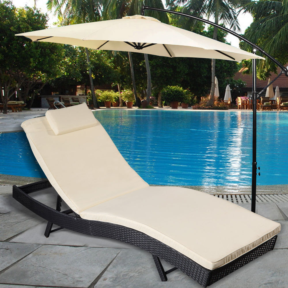 Kauai Outdoor Wicker Chaise Lounges Within Newest Adjustable Pool Chaise Lounge Chair Outdoor Patio Brown (View 19 of 25)
