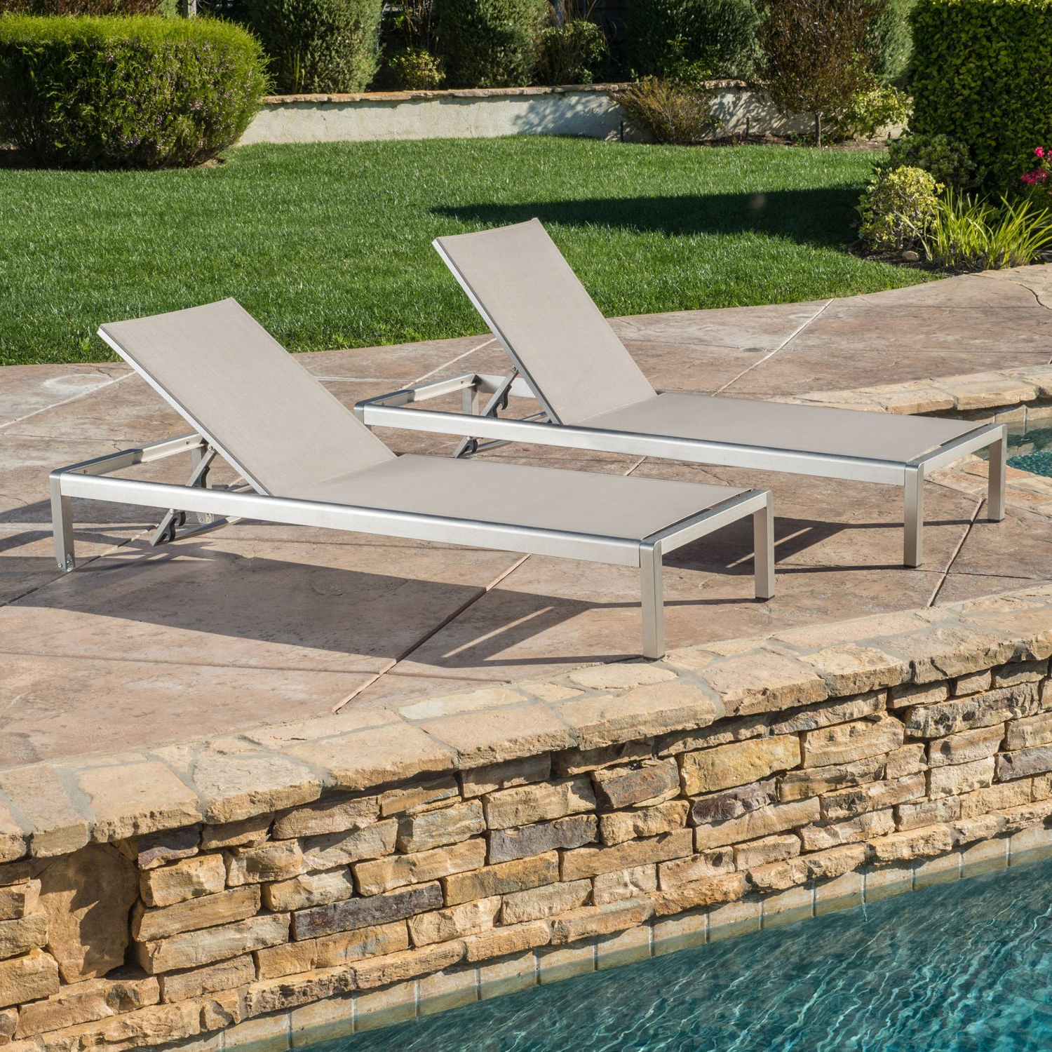 Keaton Gray Mesh Chaise Lounge Set Of 2 Regarding Widely Used Cape Coral Outdoor Aluminum Mesh Chaise Lounges (View 17 of 25)