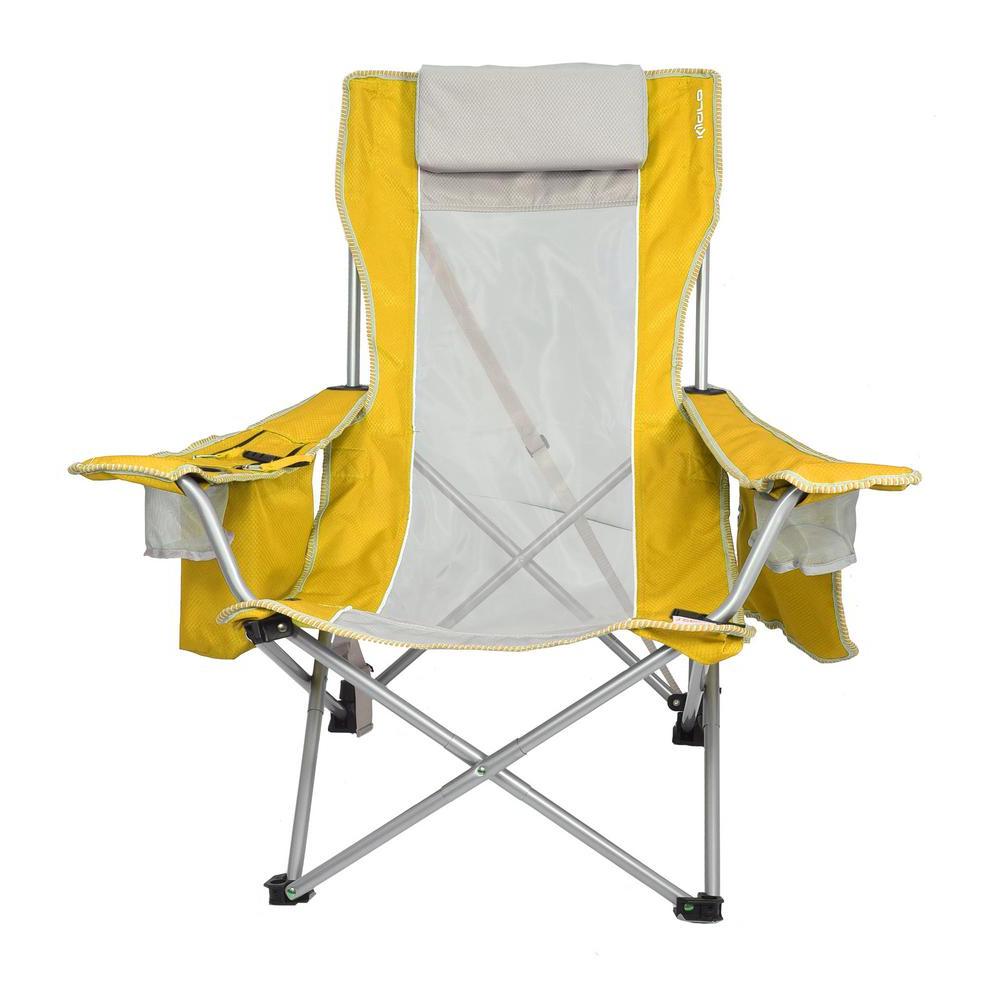 Kijaro Haleakala Sunrise Yellow Beach Sling Chair Within 2020 Sunset Patio Sling Folding Chairs With Headrest (View 10 of 25)