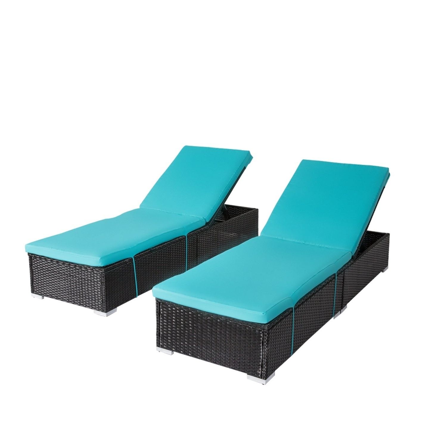 Kinbor Outdoor Adjustable Chaise Lounge Chair Pe Rattan Wicker Chaise Pool  Chairs W/cushions Pertaining To Famous All Weather Rattan Wicker Chaise Lounges (View 17 of 25)