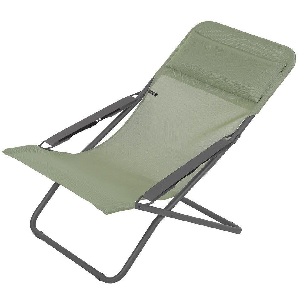 Lafuma Furniture Transabed In Moss (green) Metal Reclining Lawn Chair In Best And Newest 3 Position Portable Reclining Beach Chaise Lounges (View 16 of 25)