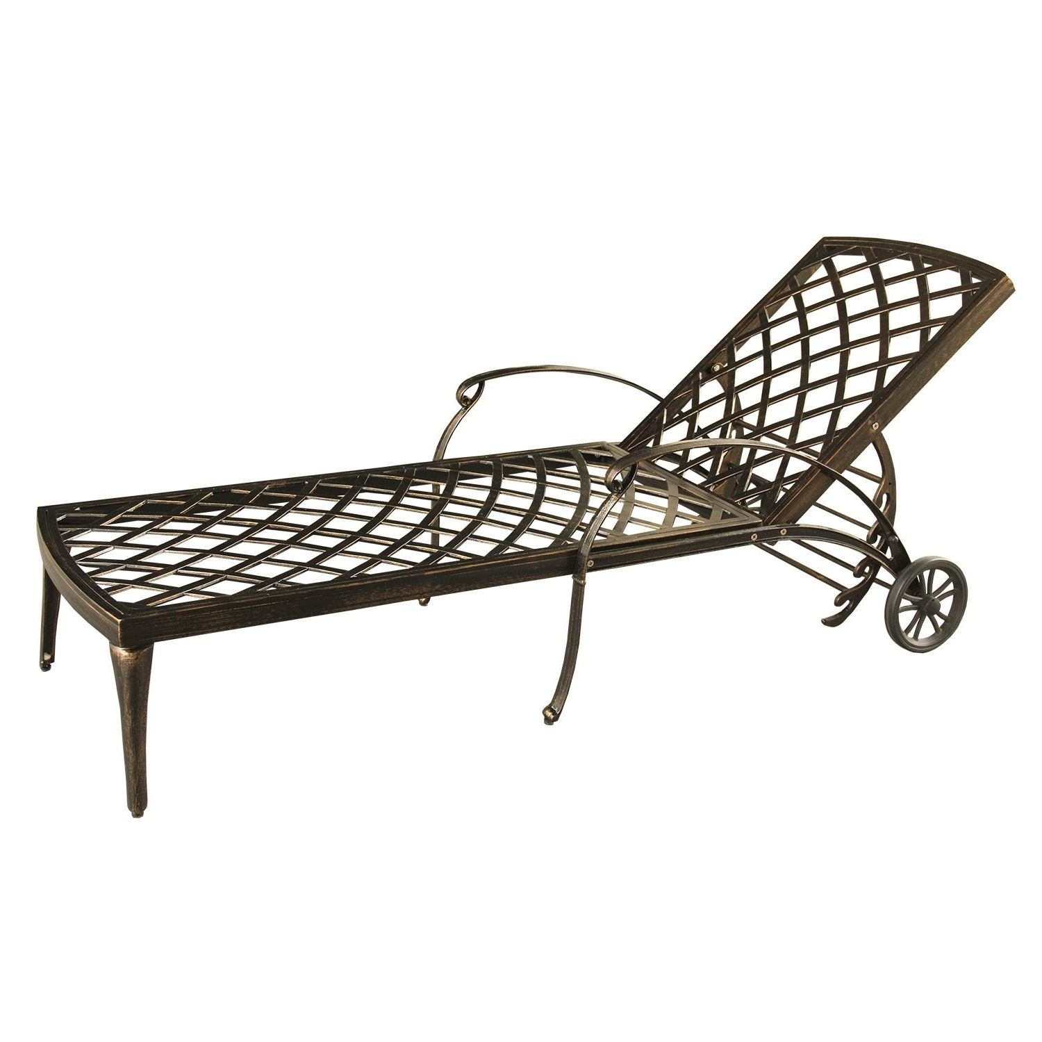 Latest Aluminum Wheeled Chaise Lounges With Lattice Outdoor Patio Pool Chaise Lounge With Wheels And Cushion (View 11 of 25)