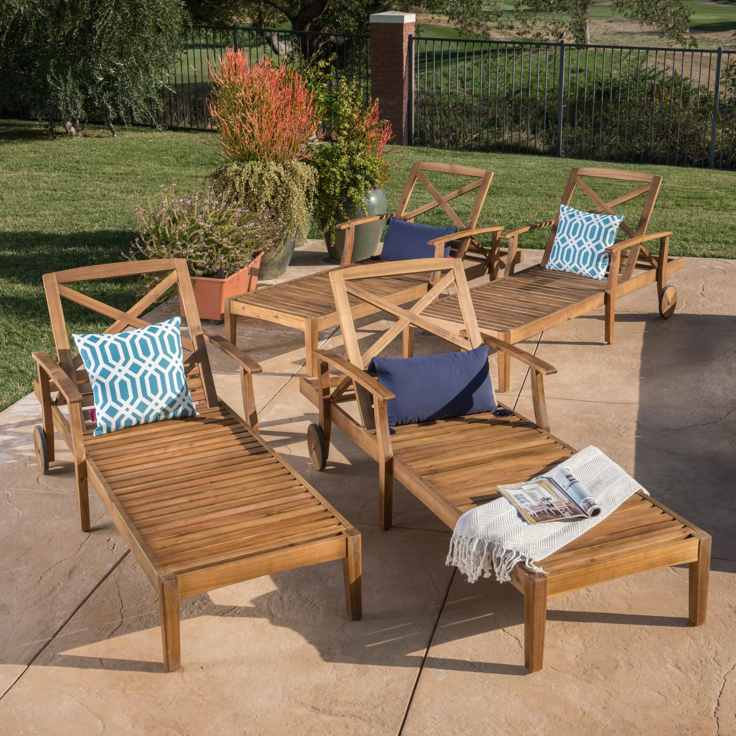 Latest Christopher Knight Home Perla Outdoor Acacia Wood Chaise Lounge (set Of 4) By Regarding Perla Outdoor Acacia Wood Chaise Lounge With Cushion (View 11 of 25)