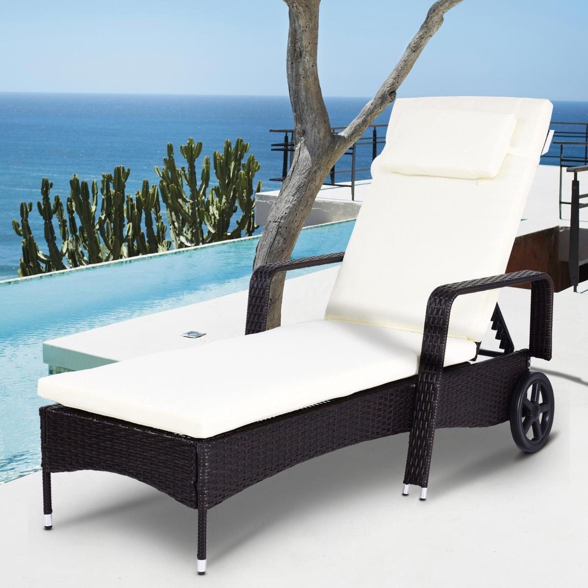 Latest Costway Outdoor Chaise Lounge Chair Recliner Cushioned Patio Pertaining To Outdoor Adjustable Reclining Wicker Chaise Lounges (View 7 of 25)