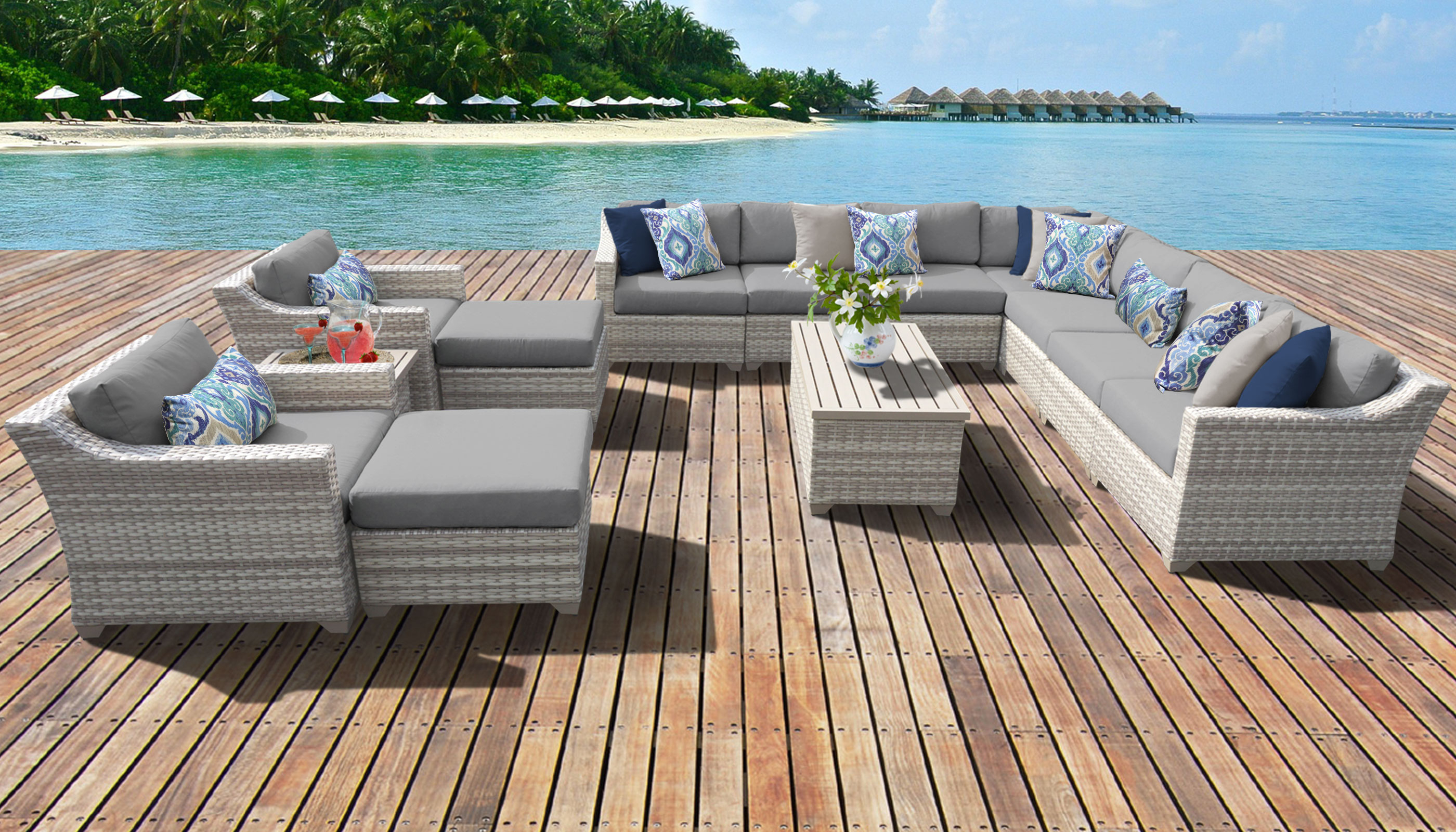Latest Fairmont 13 Piece Outdoor Wicker Patio Furniture Set 13a With Regard To Outdoor 13 Piece Wicker Patio Sets With Cushions (View 12 of 25)