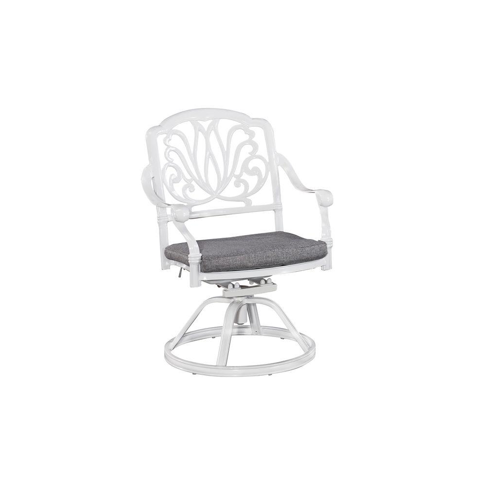 Latest Floral Blossom Chaise Lounge Chairs With Cushion Within Home Styles Floral Blossom White All Weather Patio Swivel Chair Pair With Cushion (View 9 of 25)