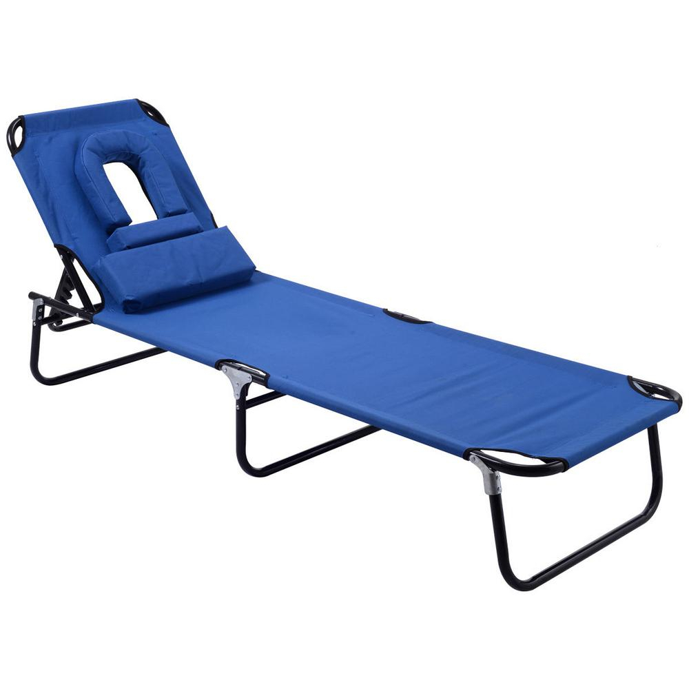 Latest Foldable Camping And Lounge Chairs For Costway Pool Yard Blue Metal Steel Frame Patio Folding Beach Chair Outdoor  Chaise Lounge Chair Bed Camping Recliner (View 13 of 25)