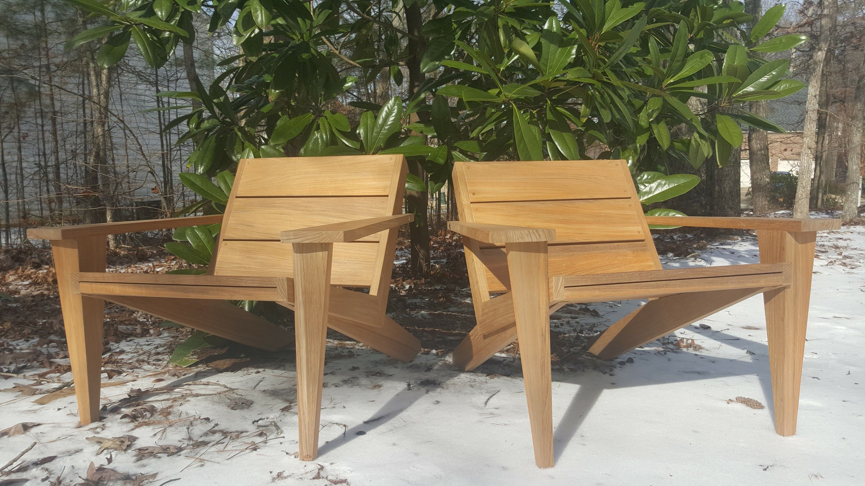 Latest Mahogany Adirondack Chairs With Ottoman Pertaining To Hand Crafted Modern Teak Adirondack Outdoor Lounge Chair (View 21 of 25)