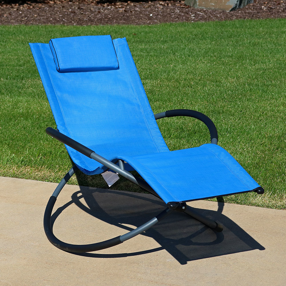 Latest Orbital Patio Lounger Rocking Chairs With Sunnydaze Orbital Outdoor Folding Zero Gravity Rocking Lounger W/ Pillow,  Blue (View 5 of 25)