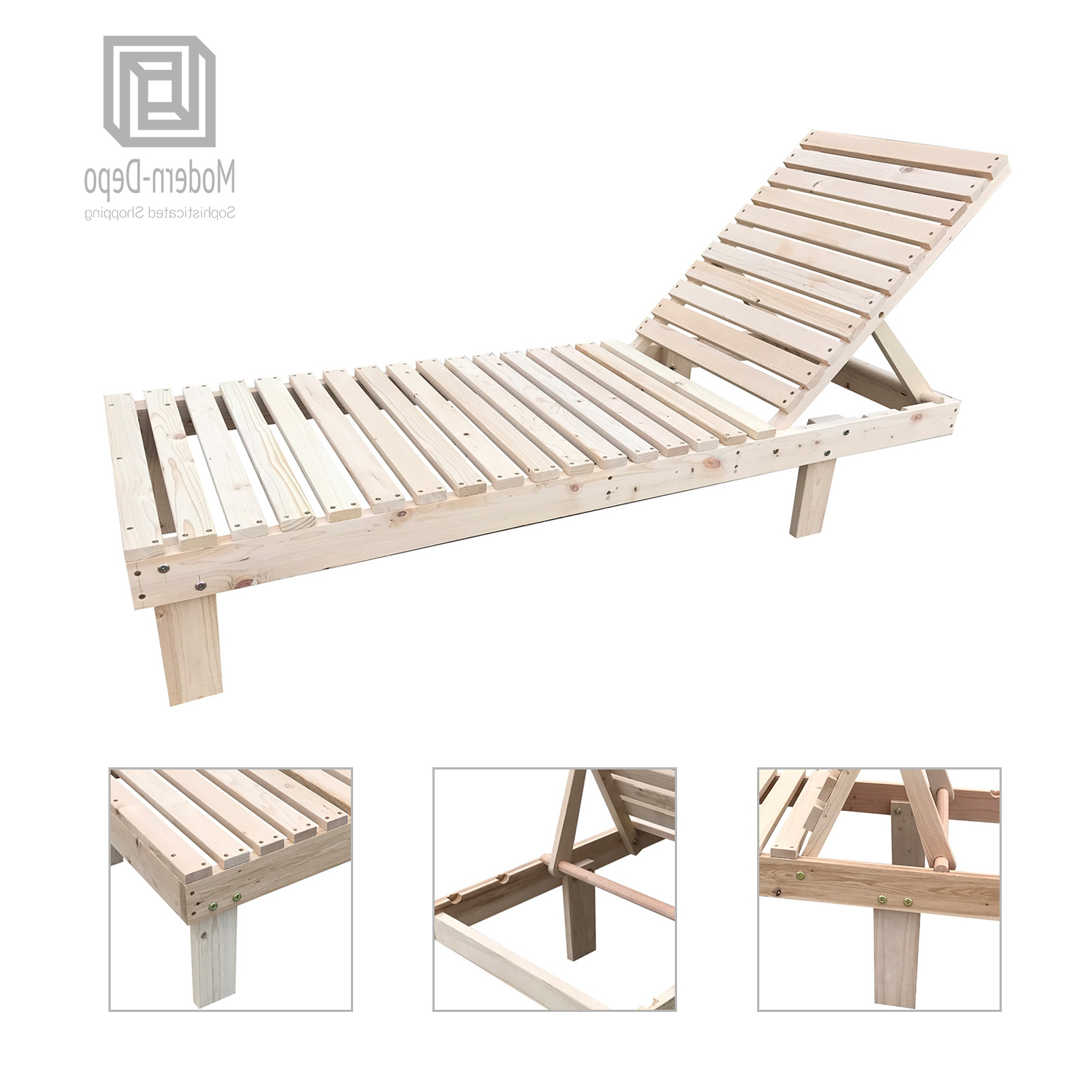 Latest Outdoor Adjustable Wood Chaise Lounges For Details About Patio Spa Pool Wooden Chaise Lounge Adjustable Chair Outdoor Garden Furniture (View 6 of 25)