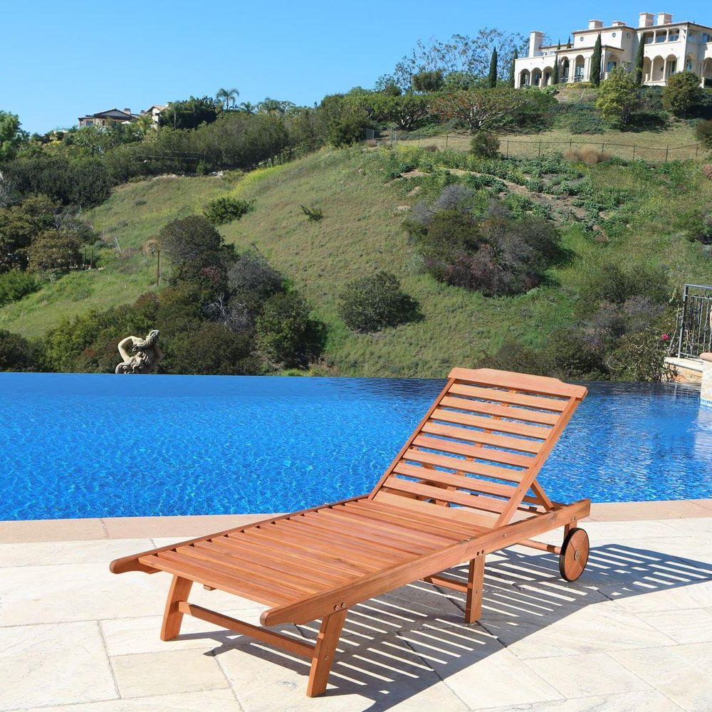 Latest Outdoor Adjustable Wood Chaise Lounges With Regard To Vifah Roch Single Adjustable Patio Chaise Lounge (View 9 of 25)