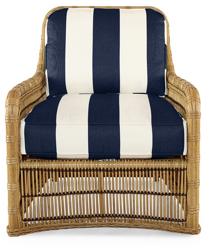 Latest Outdoor Living Manteca Dark Slate Lounge Chairs In Rafter Lounge Chair, Navy Stripe Sunbrella – Celerie Kemble (View 6 of 25)