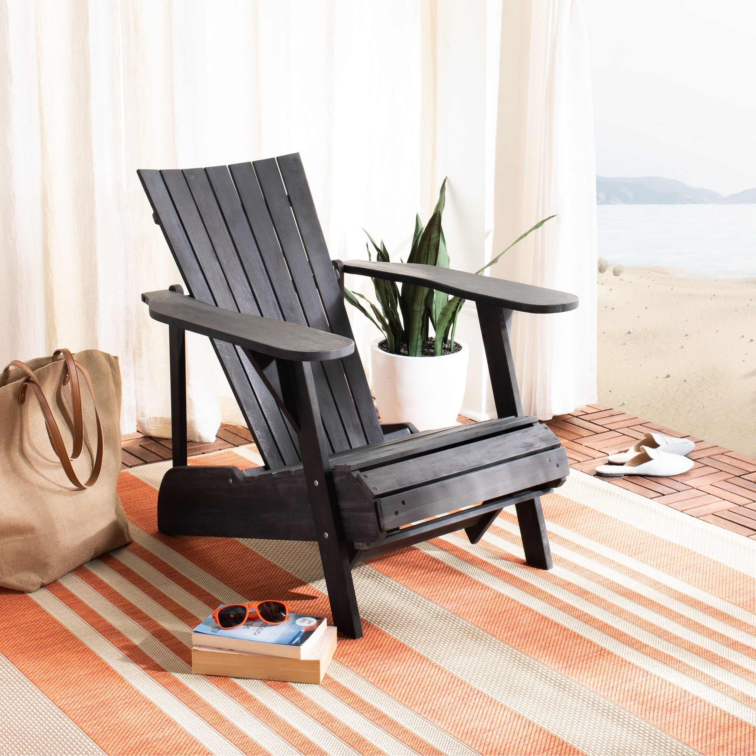 Latest Outdoor Living Manteca Dark Slate Lounge Chairs Regarding Safavieh Outdoor Living Merlin Adirondack Chair W (View 7 of 25)