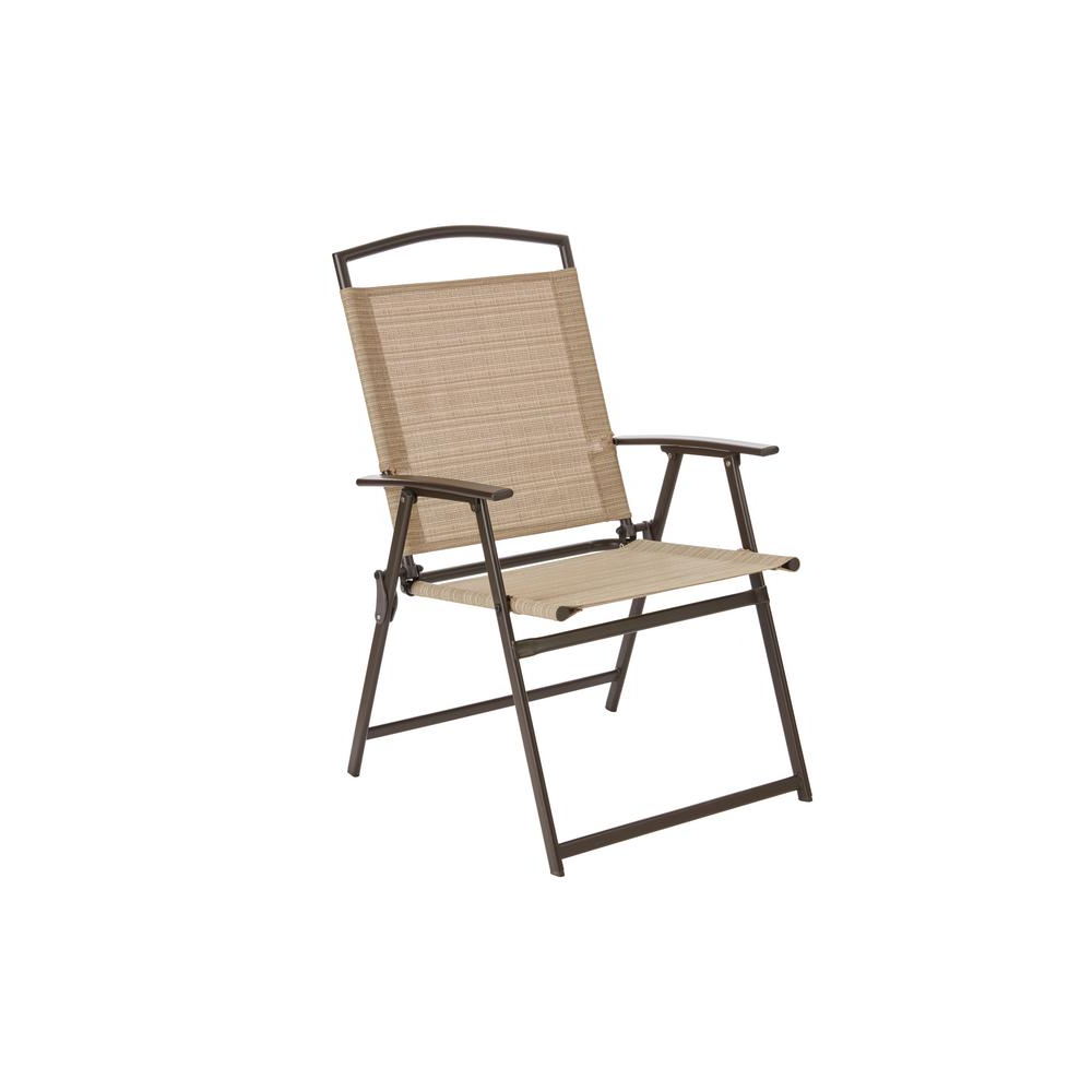 Latest Outdoor Wood Sling Chairs Throughout Hampton Bay Mix And Match Dark Brown Folding Outdoor Dining Chair In Cafe  Non Padded Sling (View 8 of 25)