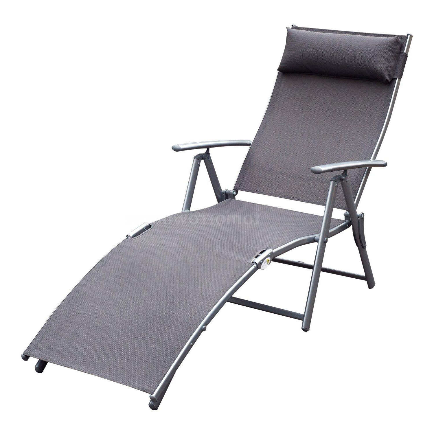 Latest Steel Sling Fabric Outdoor Folding Chaise Lounges Inside Details About Steel Sling Fabric Outdoor Folding Chaise Lounge Chair Recliner – Grey K5c (View 12 of 25)