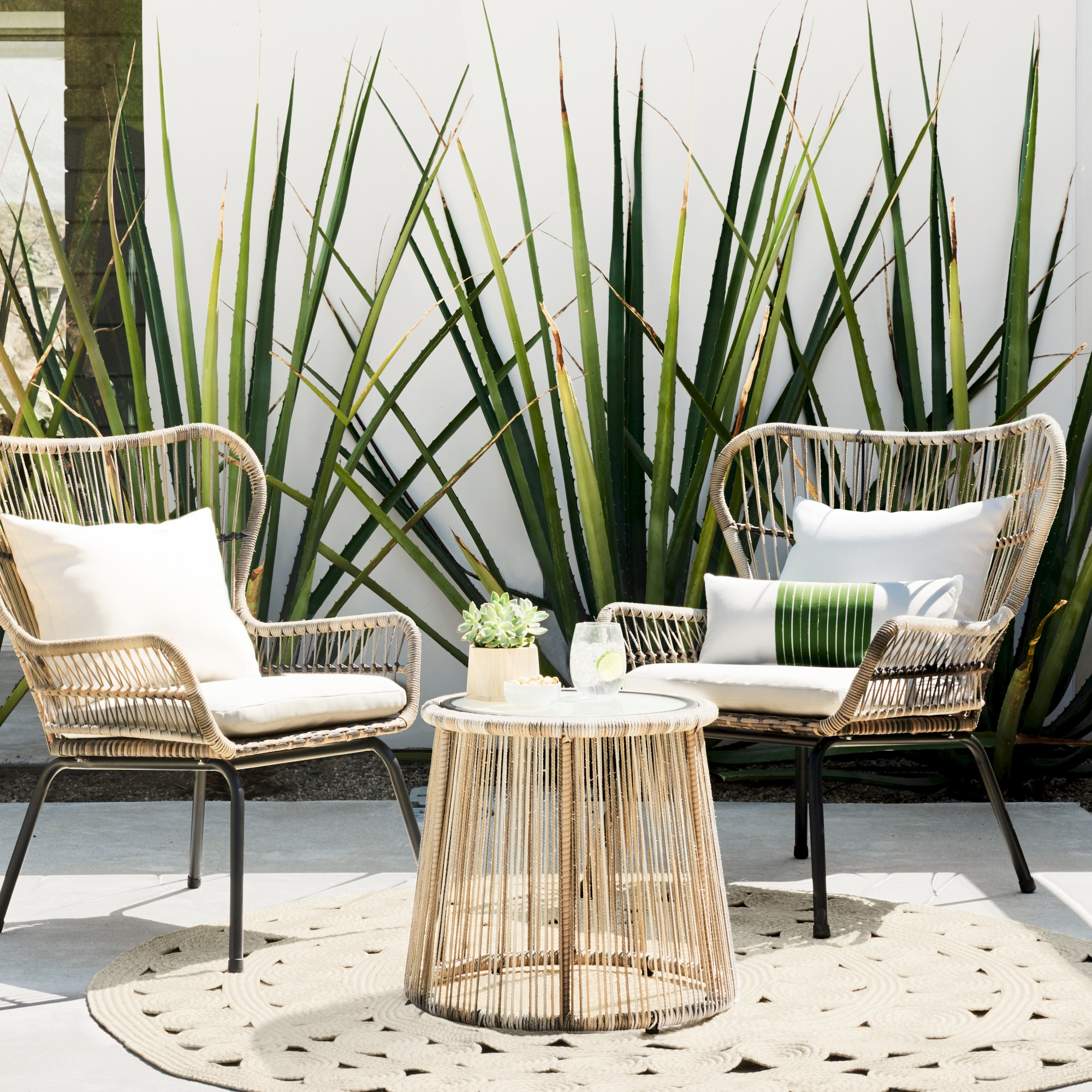 Latigo 3Pc All Weather Wicker Outdoor Patio Chat Set – Tan Intended For Well Known Modern Home Wailea Woven Rattan Loungers (Gallery 4 of 25)