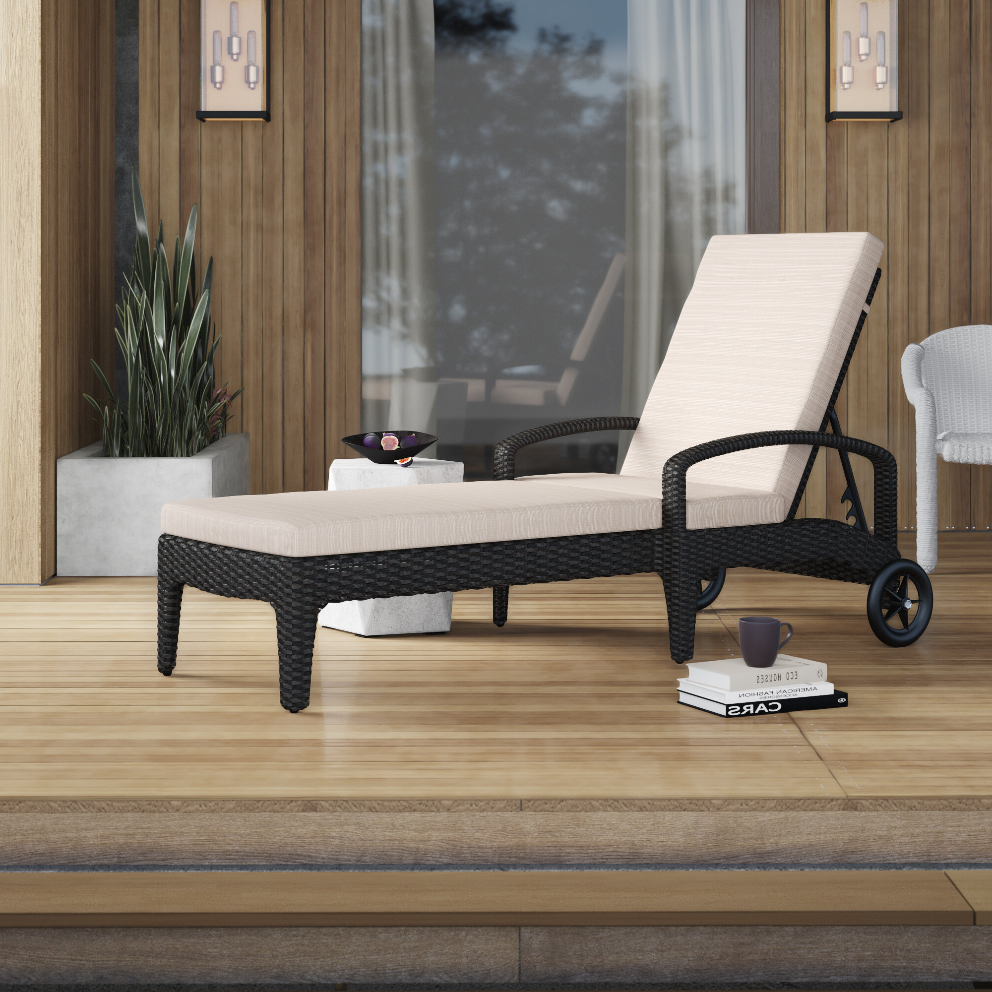 Lattice Outdoor Patio Pool Chaise Lounges With Wheels And Cushion For 2019 Landers Reclining Chaise Lounge With Cushion (View 21 of 25)