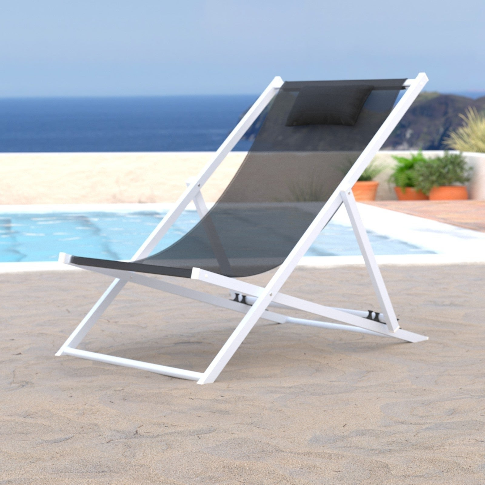 Leisuremod Sunset Patio Sling Folding Chair Adjustable With Headrest Intended For Newest Sunset Patio Sling Folding Chairs With Headrest (Gallery 1 of 25)