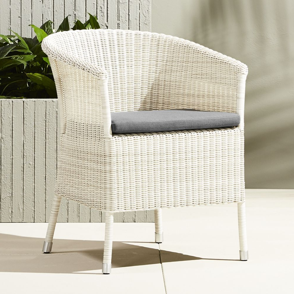Lounge Chairs In White With Grey Cushions For 2019 Camilla Dining Lounge White Wicker Chair With Grey Cushion (Gallery 15 of 25)