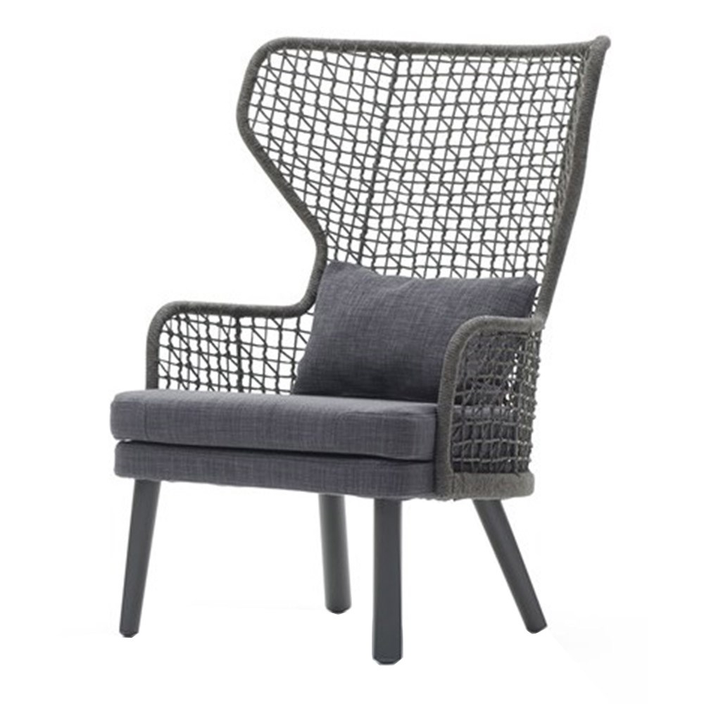 Lounge Chairs In White With Grey Cushions In Fashionable Emma High Back Lounge Chair (Gallery 13 of 25)