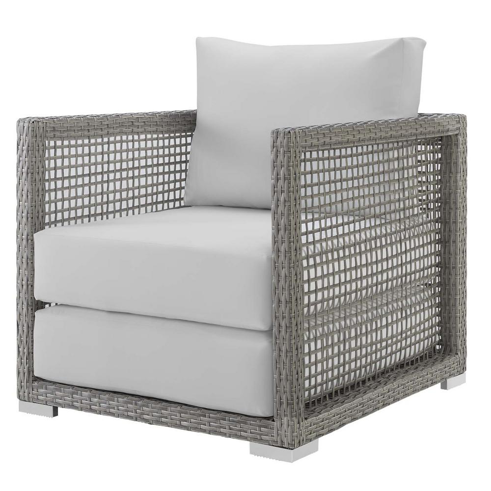 Lounge Chairs In White With Grey Cushions Inside 2020 Modway Aura Gray Wicker Outdoor Lounge Chair With White Cushions (View 5 of 25)