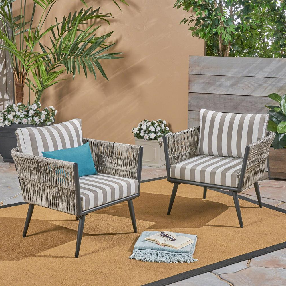 Lounge Chairs In White With Grey Cushions With Regard To Well Known Noble House Oceanus Black Aluminum And Light Gray Wicker Armed Outdoor Lounge Chair With Striped Gray And White Cushions (2 Pack) (Gallery 18 of 25)