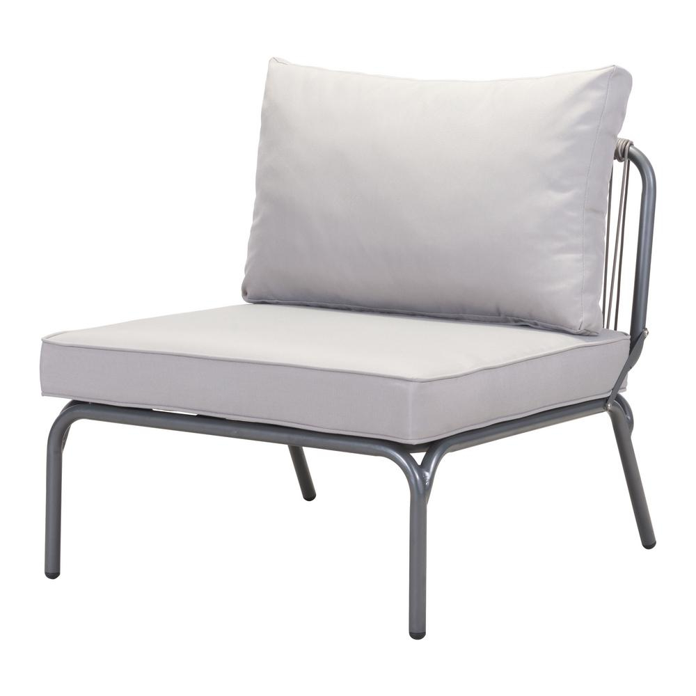 Lounge Chairs In White With Grey Cushions With Regard To Well Known Zuo Pier Wicker Outdoor Patio Lounge Chair With Gray Cushion In Gray (View 12 of 25)