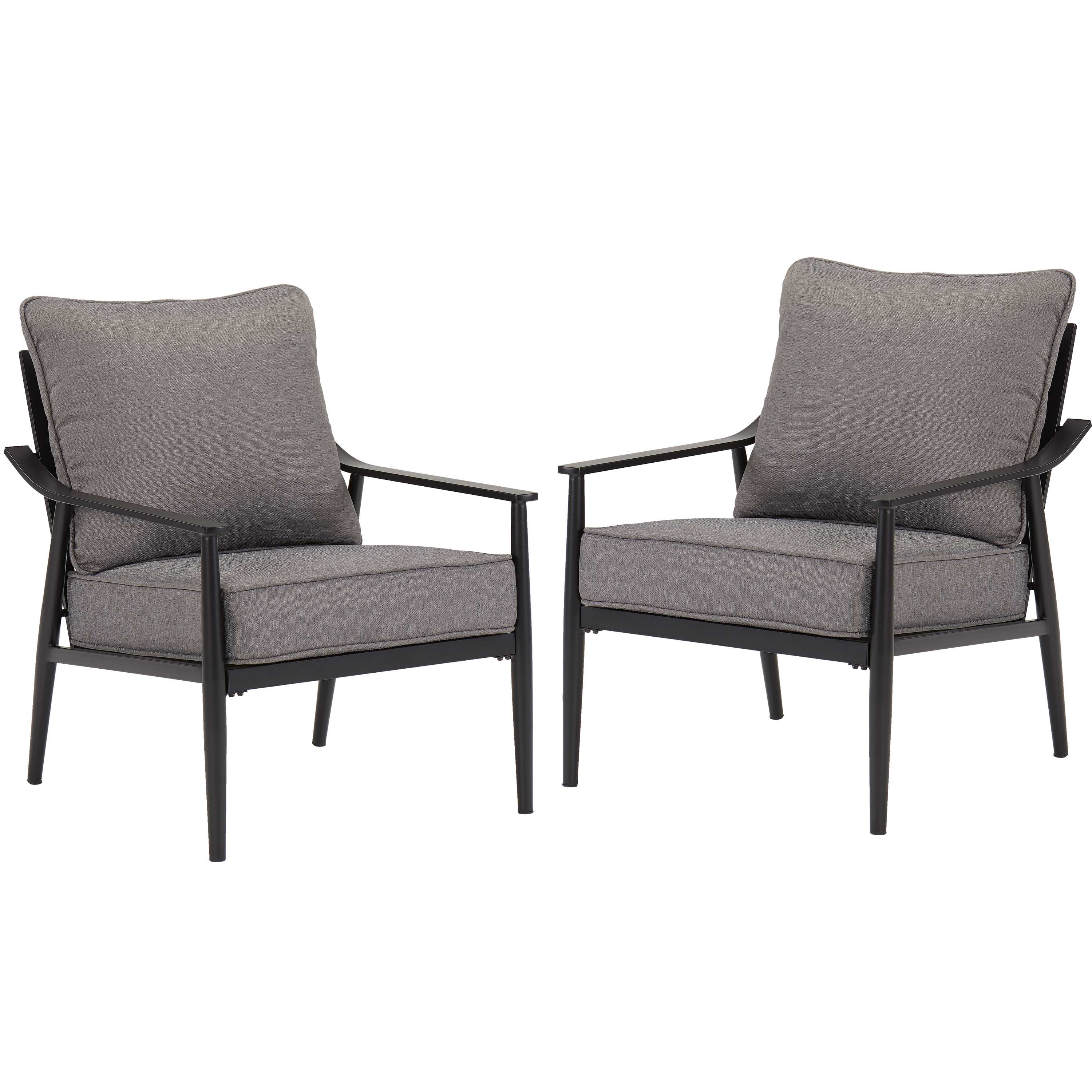 Lounge Chairs In White With Grey Cushions Within Best And Newest Better Homes & Gardens Acadia Patio Lounge Chairs With Gray Cushions, Set Of 2 – Walmart (Gallery 12 of 25)
